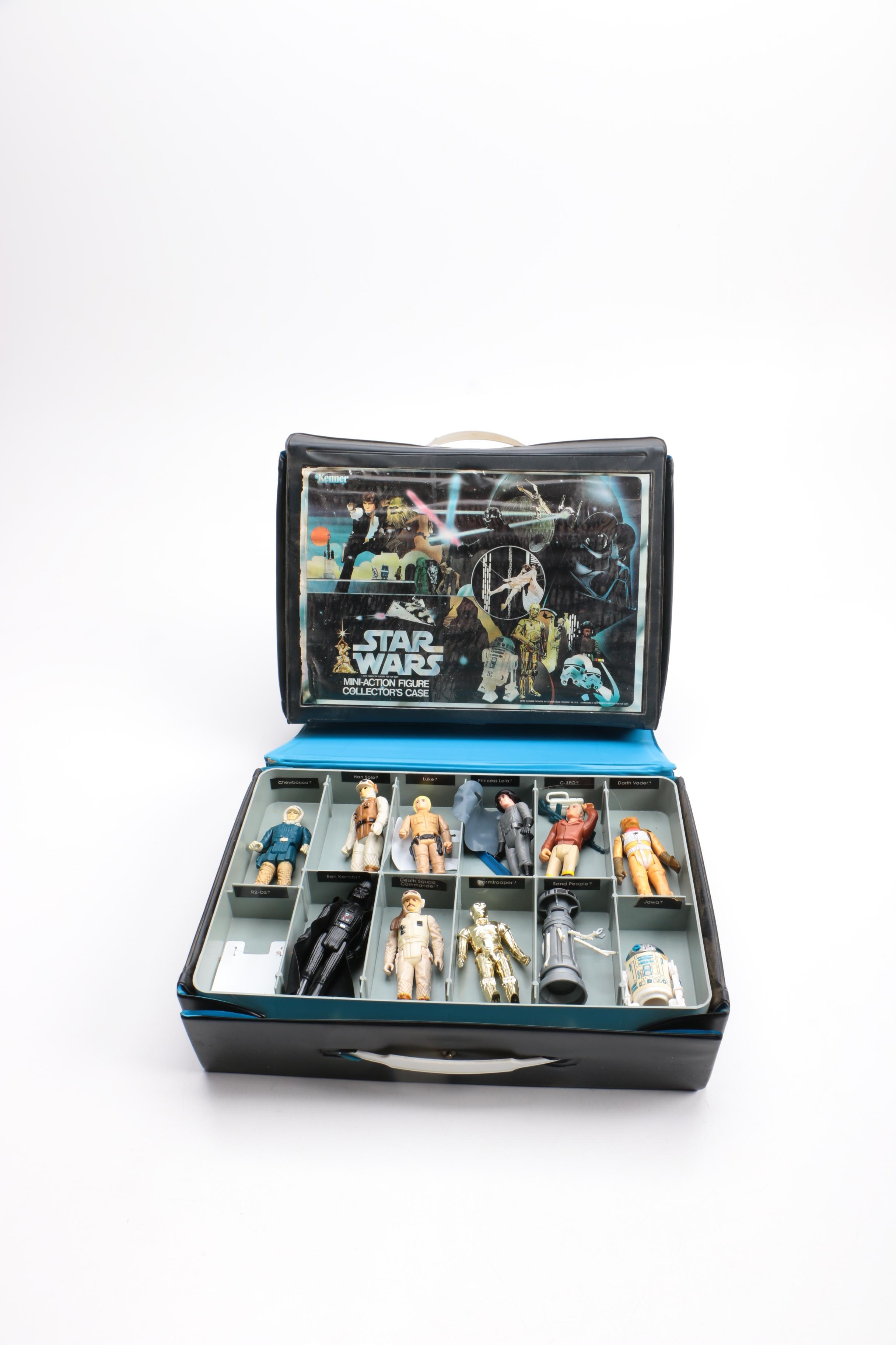 "1970s and 80s ""Star Wars"" Storage Case with Action Figures"