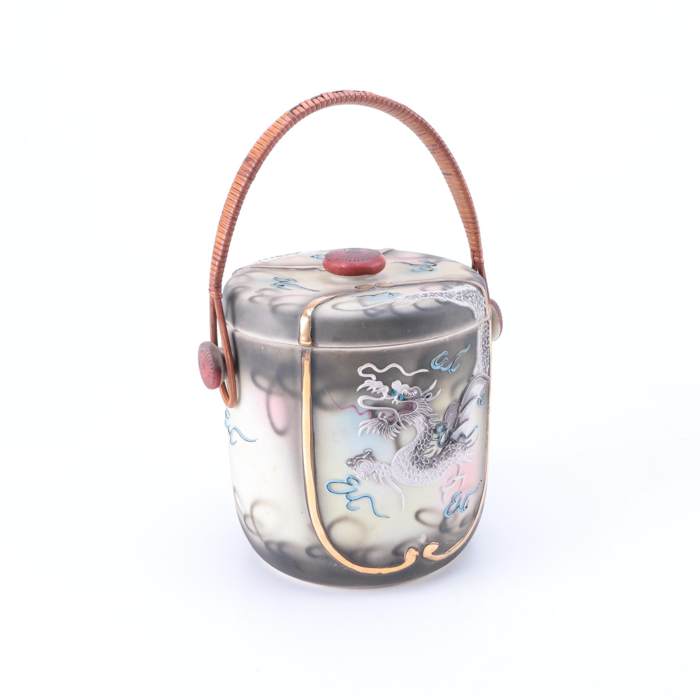 Japanese Hand-Painted Ceramic Ice Bucket