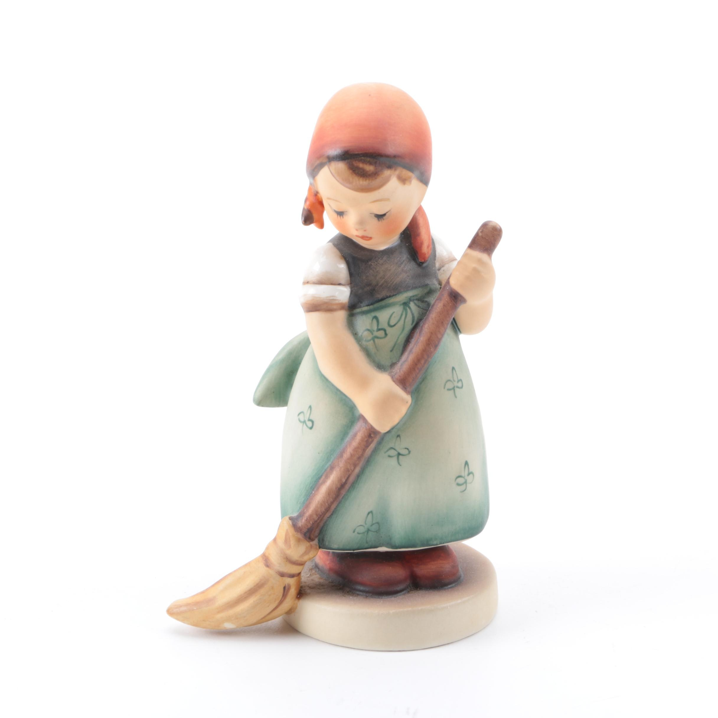 Vintage Goebel Ceramic Figurine of a Girl Sweeping