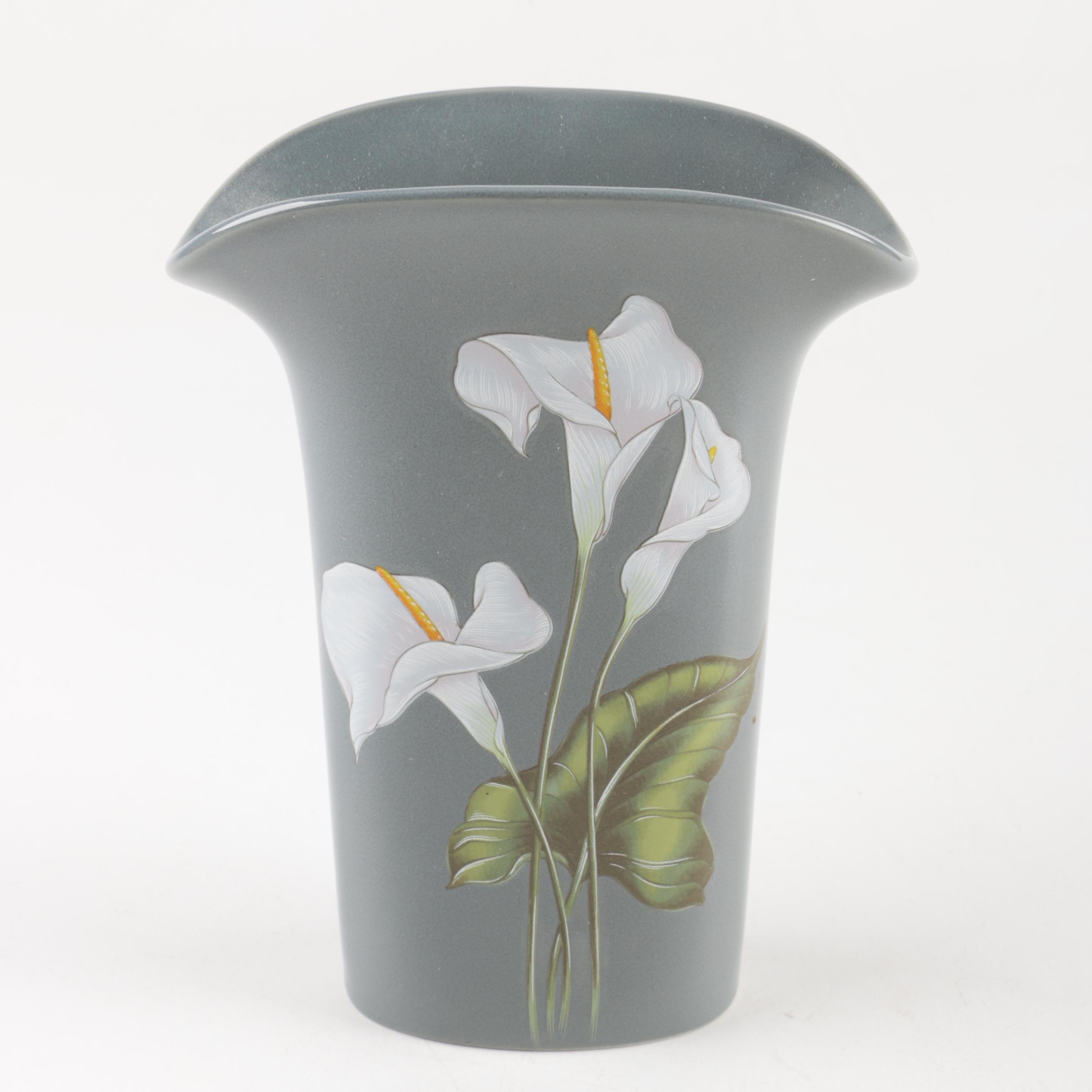 "Vintage Yamaji Japanese ""Calla Lily"" Porcelain Vase"