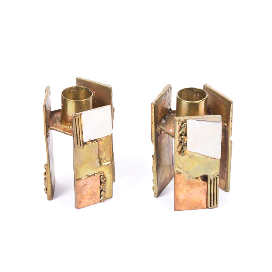 Brutalist-Style Brass Candle Holders