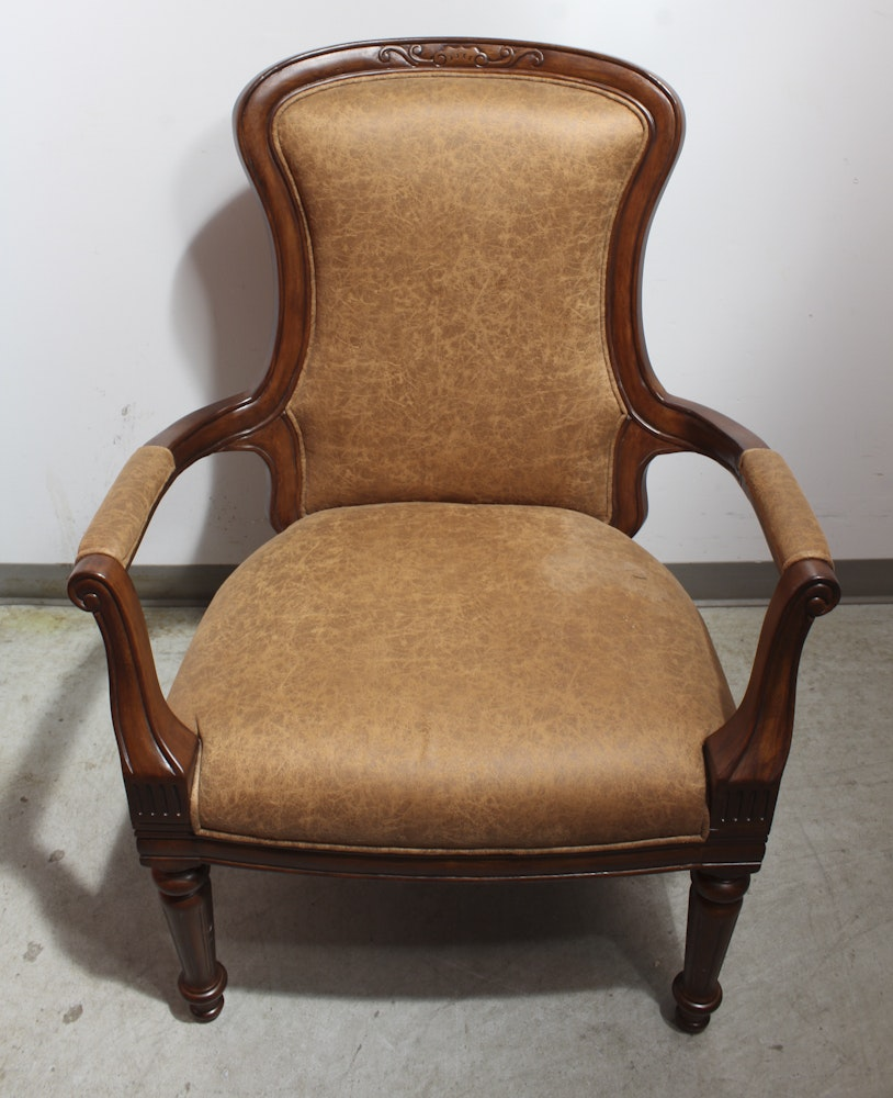 Louis XVI Style Leather Upholstered Fauteuil