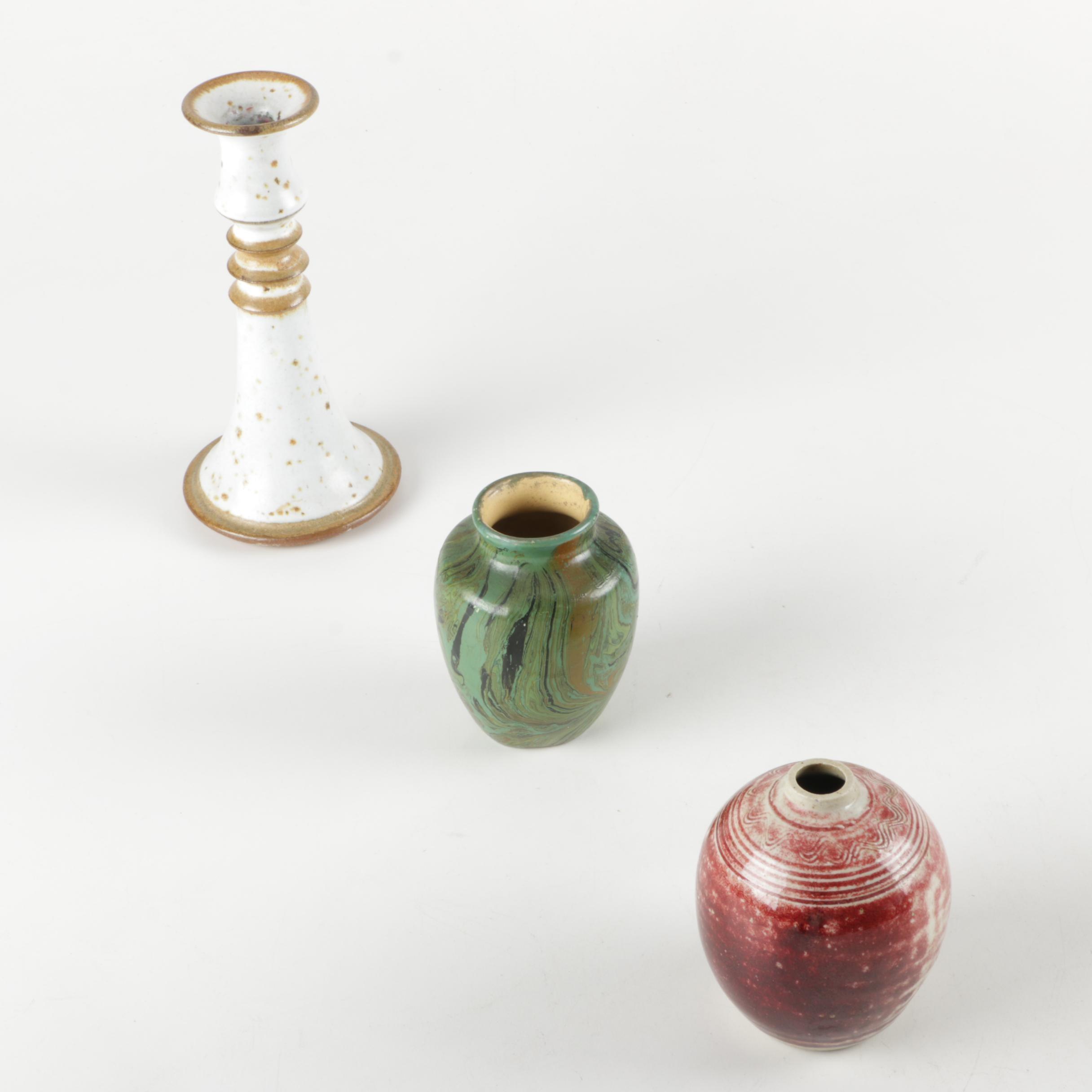 Vintage Studio Pottery Featuring Marbled Vase