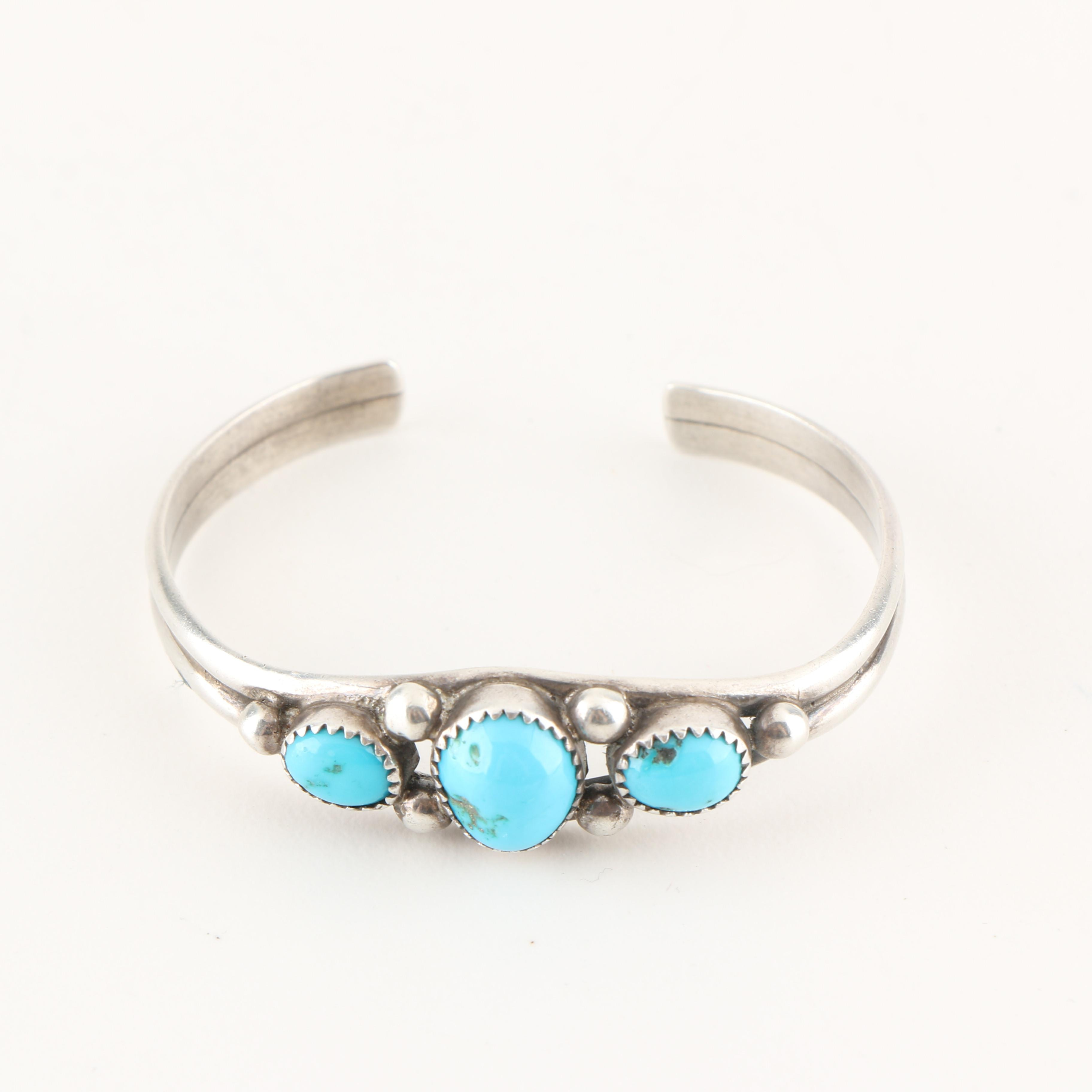 Quanita Kalistewa Zuni Sterling Silver and Turquoise Bracelet