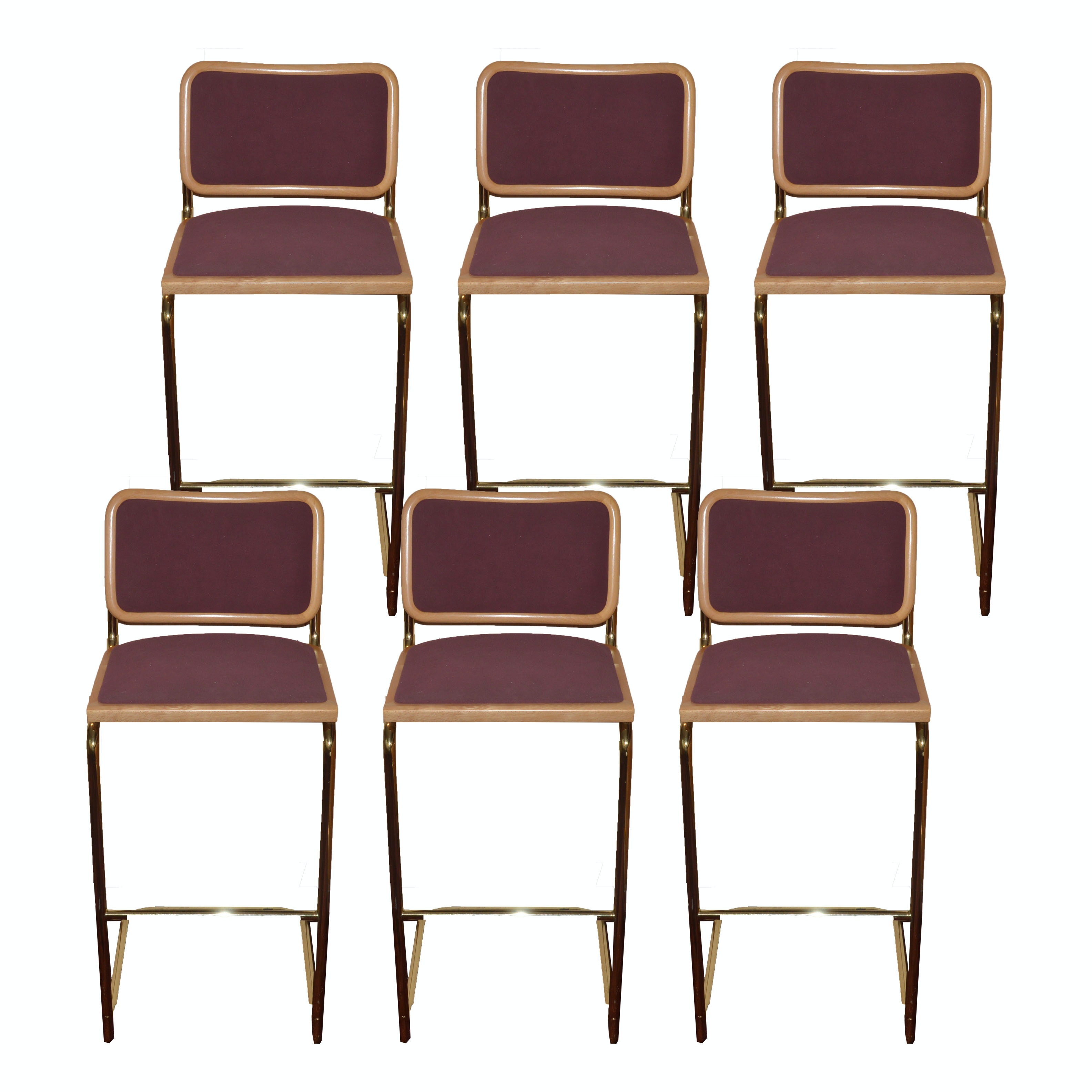 Set of Six 1980s Modern Style Bar Stools