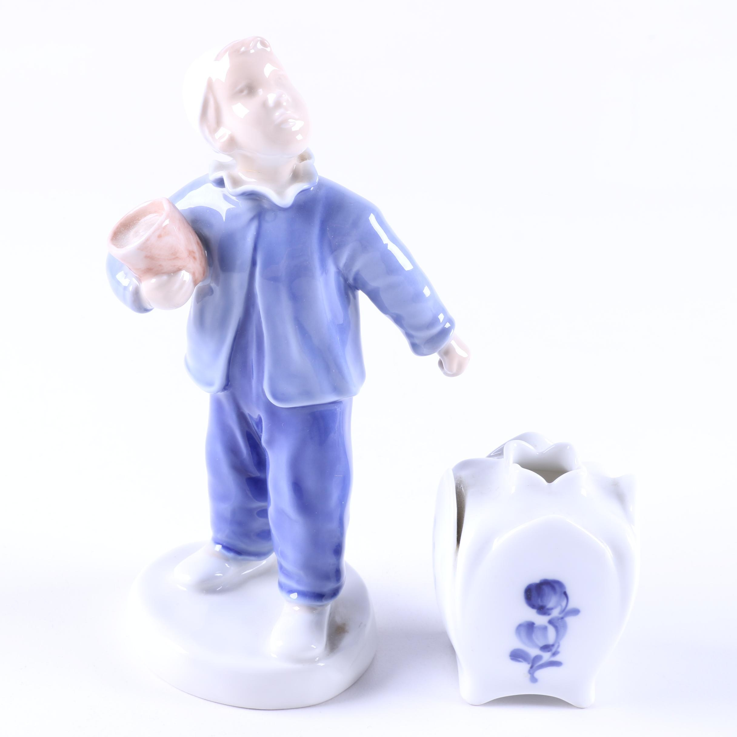 "Bing & Grondahl and Royal Copenhagen ""Little Boy"" Figurine and Miniature Vase"