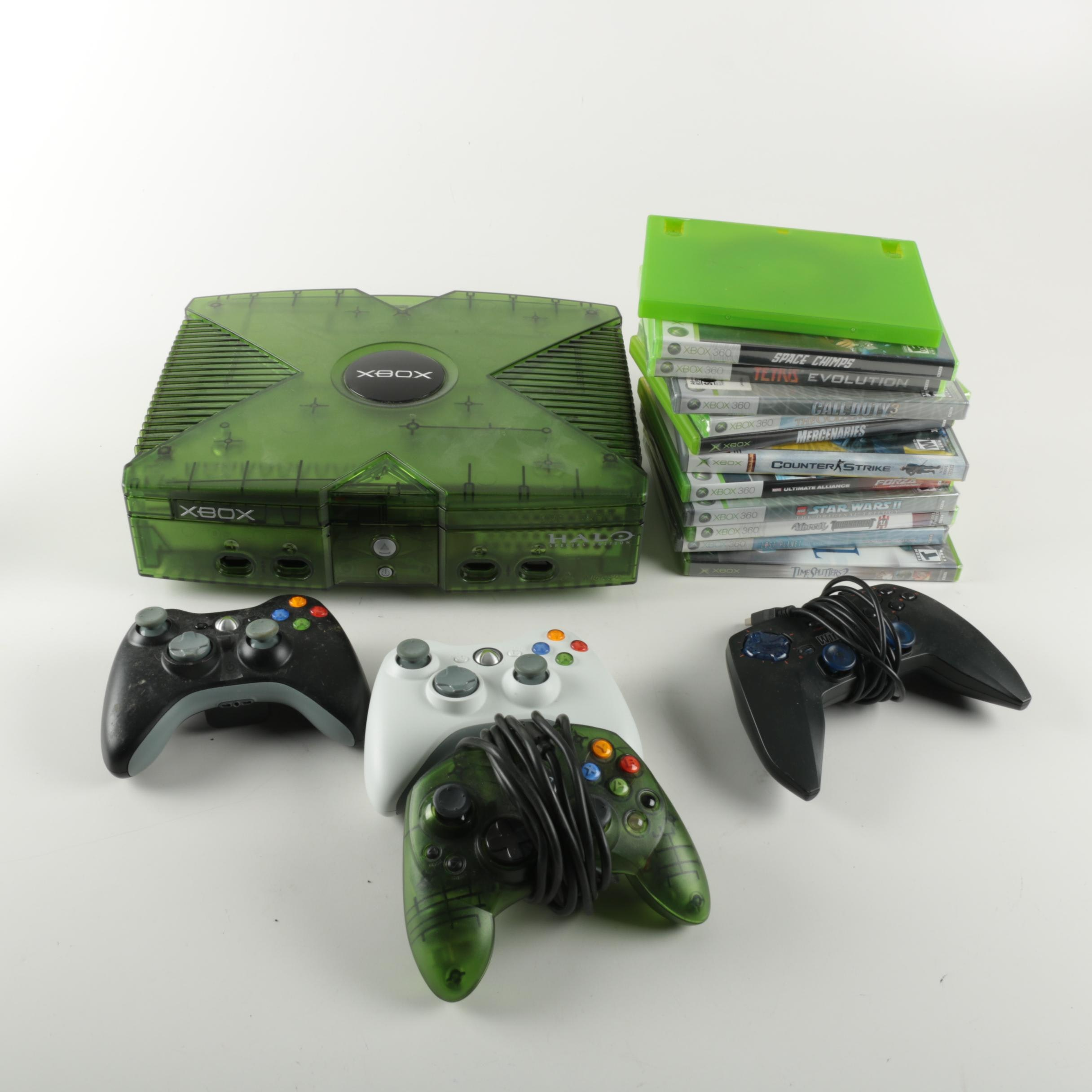 X Box Console, Controllers and Games
