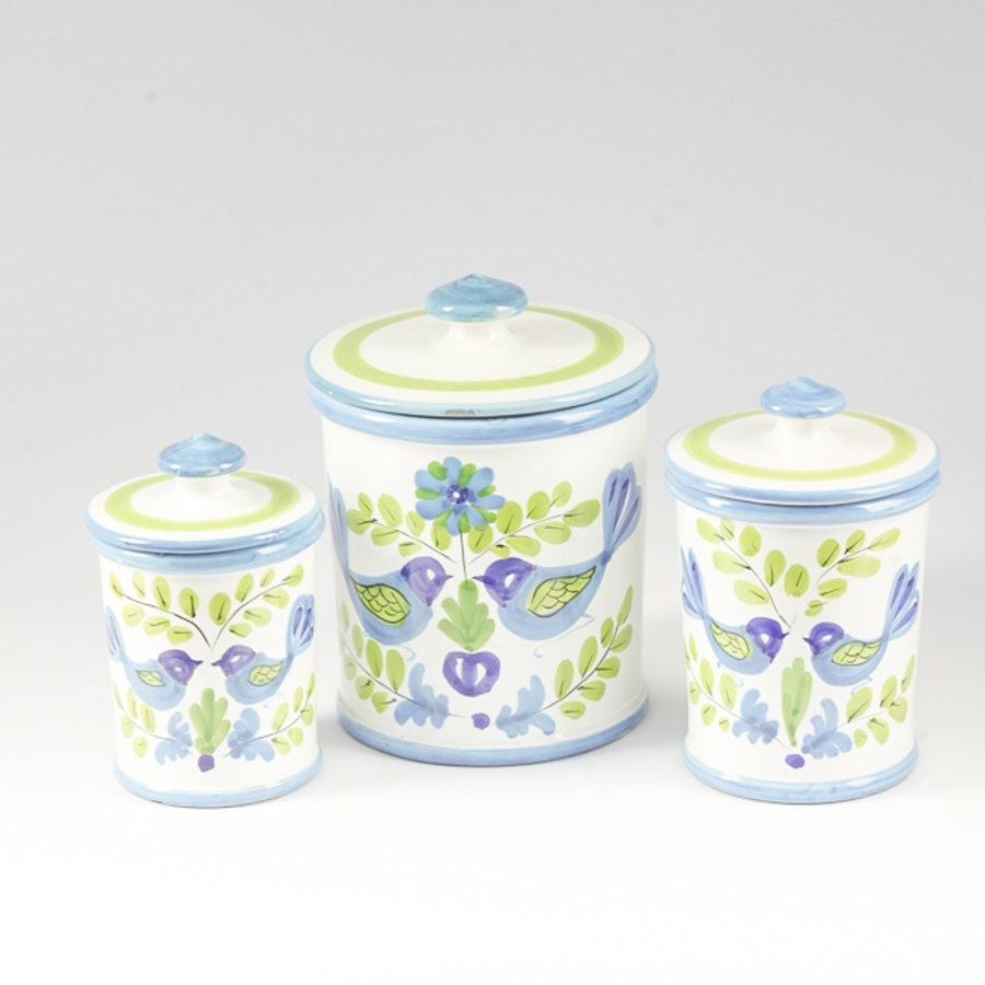 Set of Italian Hand-Painted Ceramic Canisters