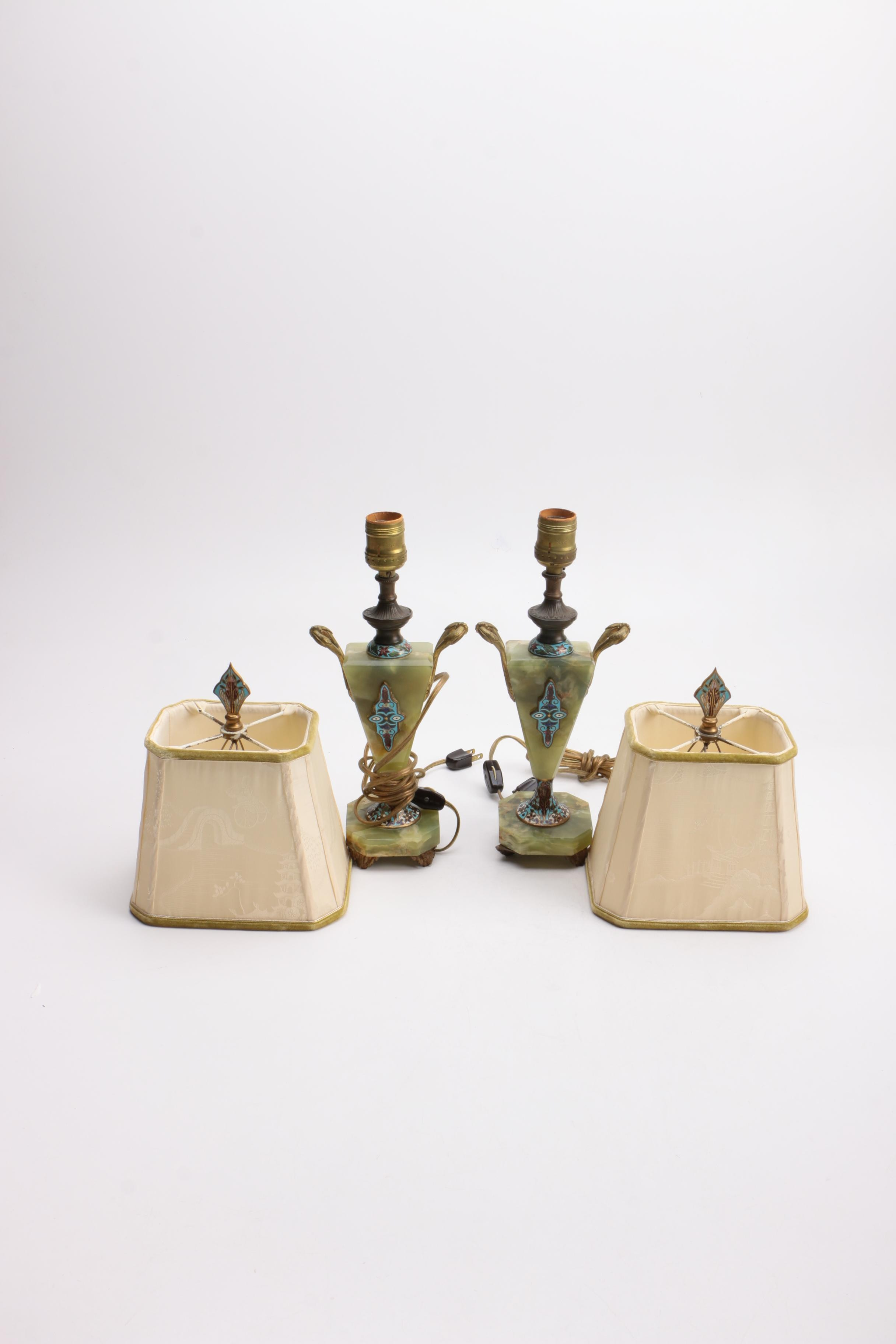 Pair of Vintage French Green Stone Champleve Lamps