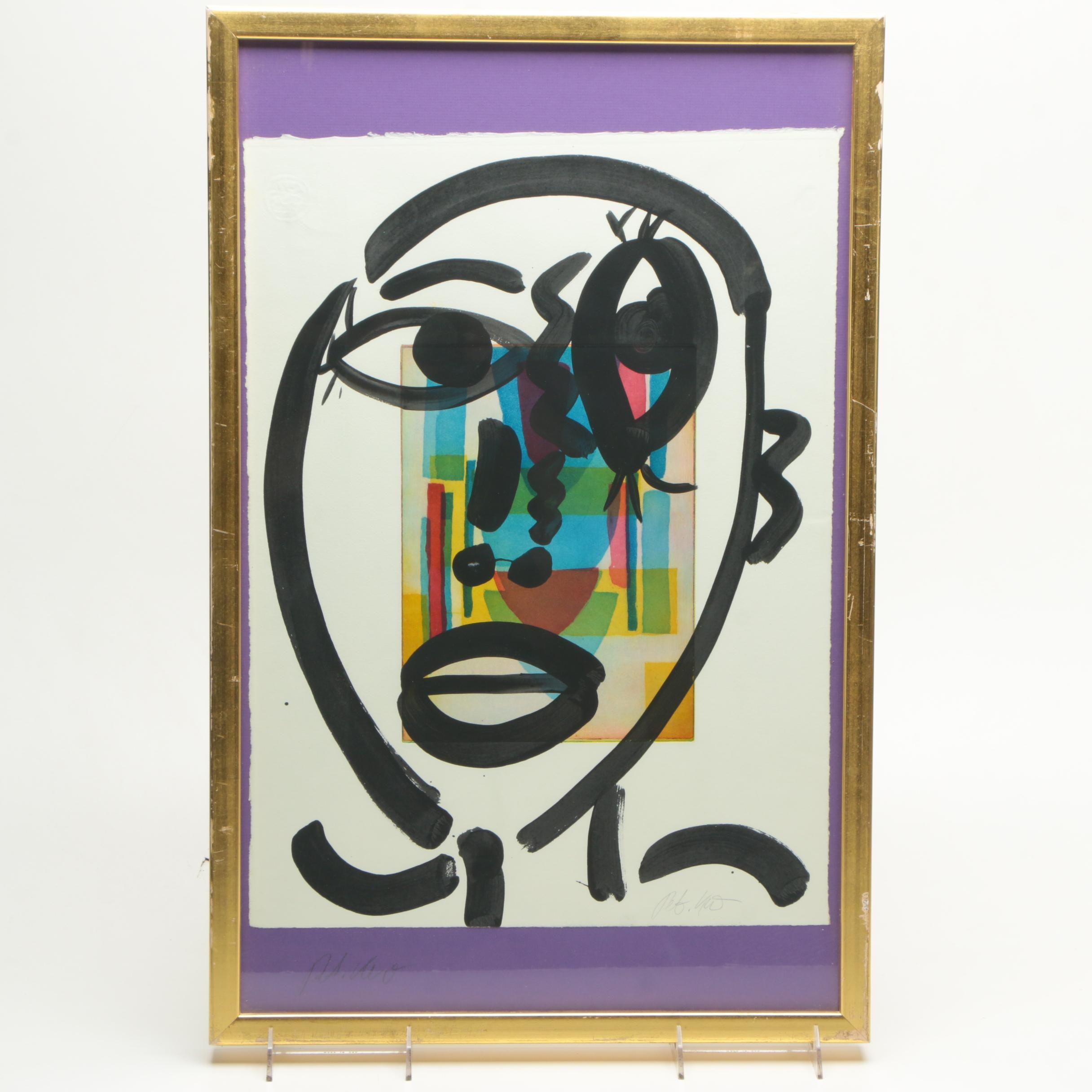 Peter Keil Hand Embellished Lithograph Abstract Portrait