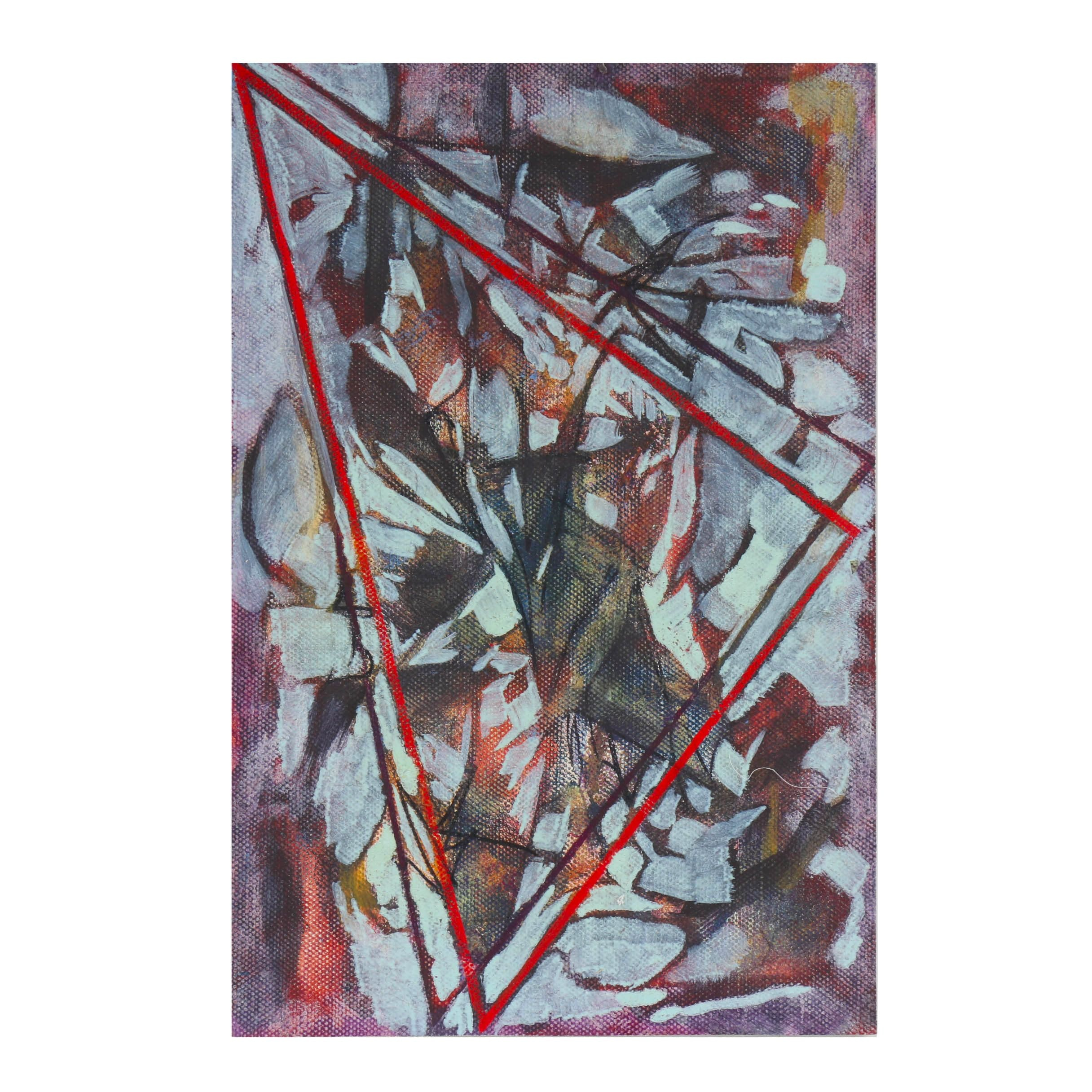 """Ricardo Morin Oil Painting on Unstretched Linen """"Triangulation No. 39"""""""
