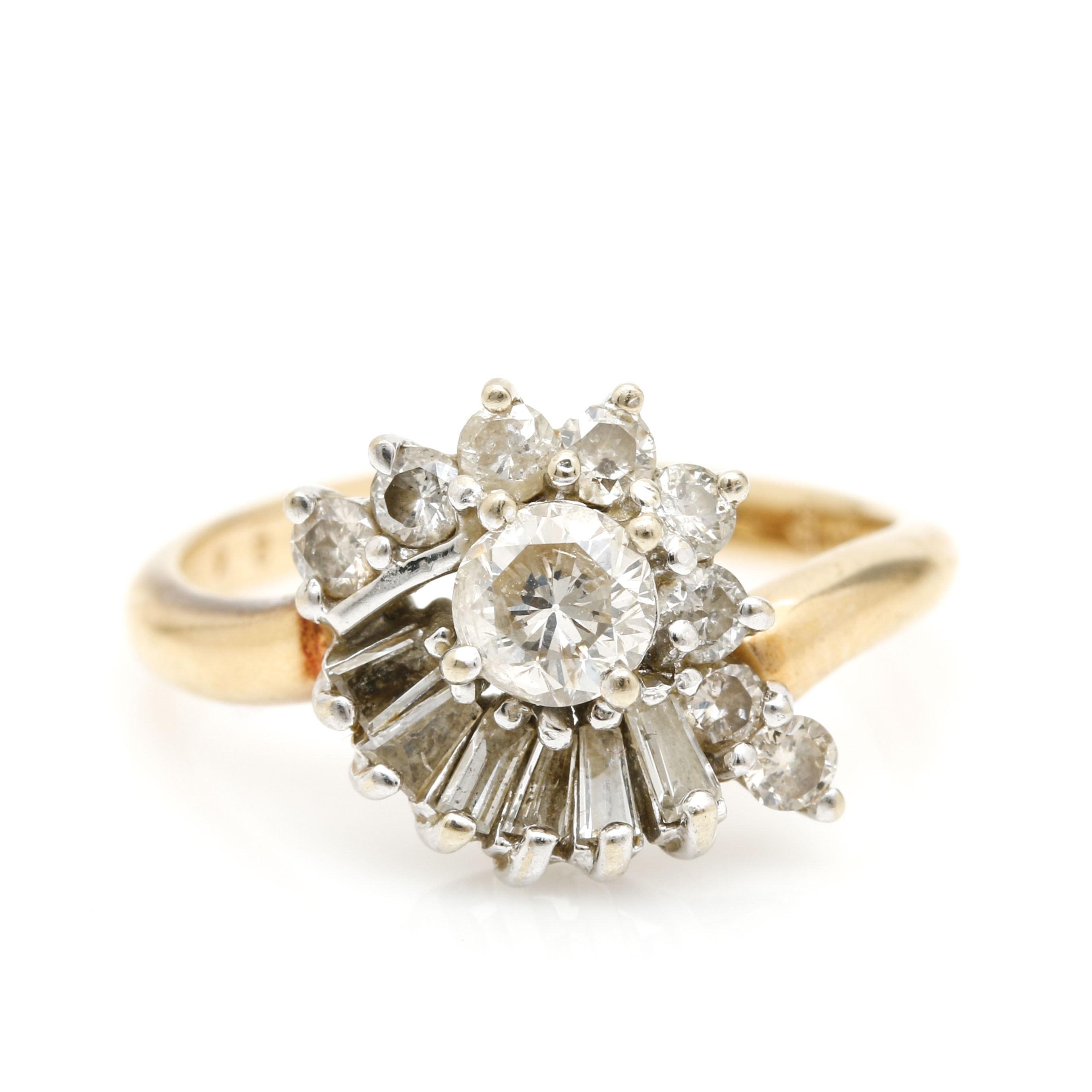 14K White and Yellow Gold 1.17 CTW Diamond Ring