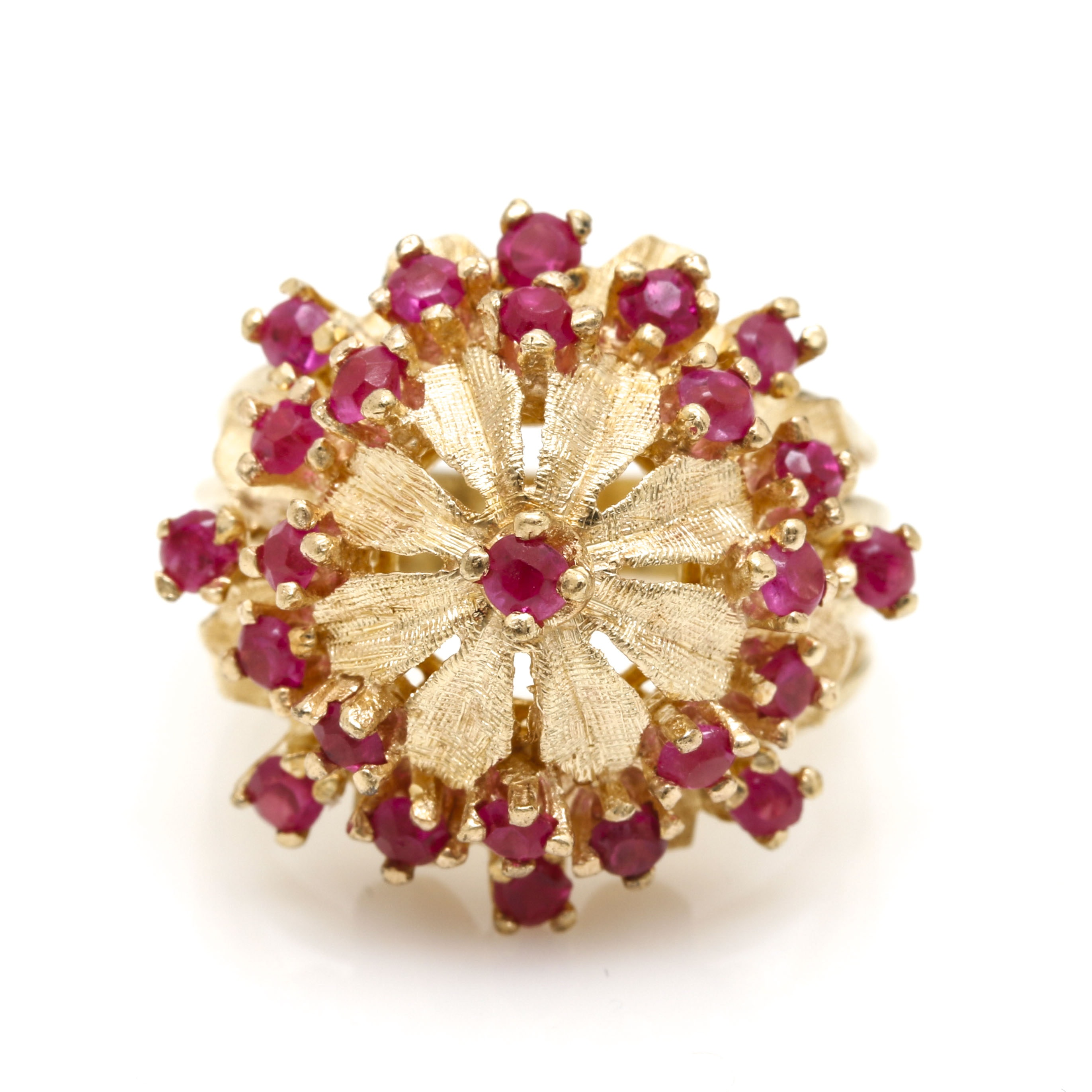 14K Yellow Gold Ruby Dome Ring