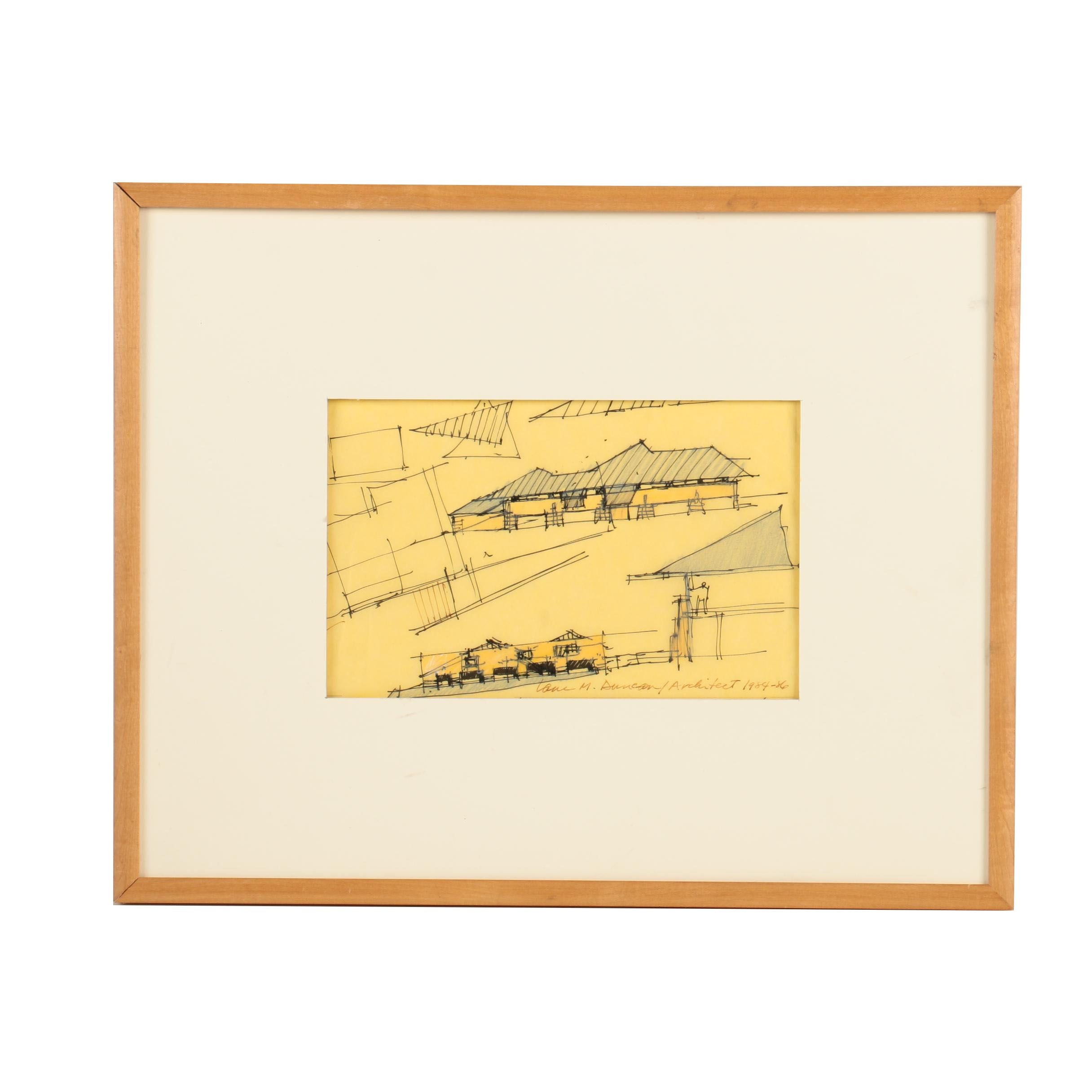 Lane M. Duncan Vintage Mixed Media Architectural Drawing on Paper