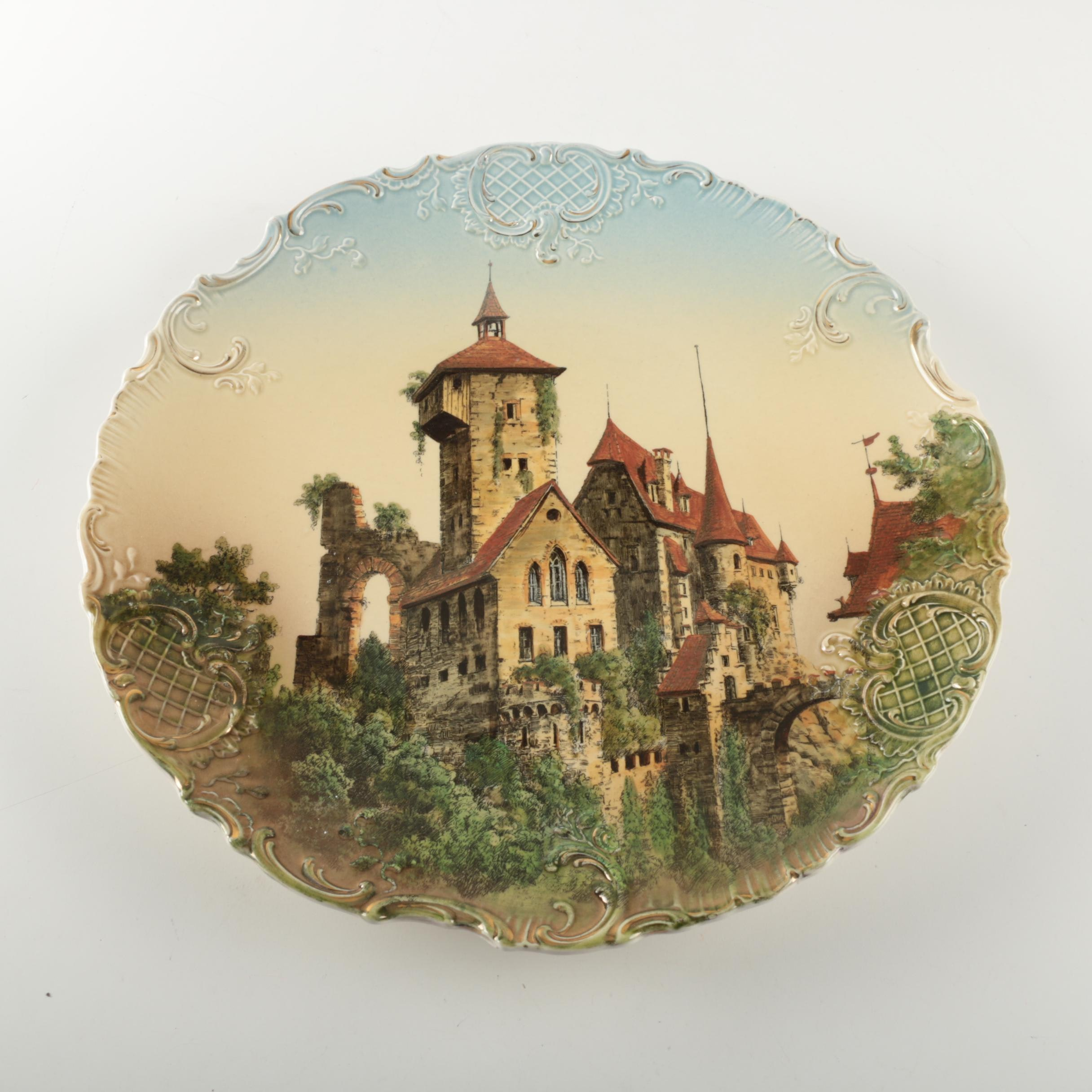 Antique Villeroy & Boch German Castle Wall Plate
