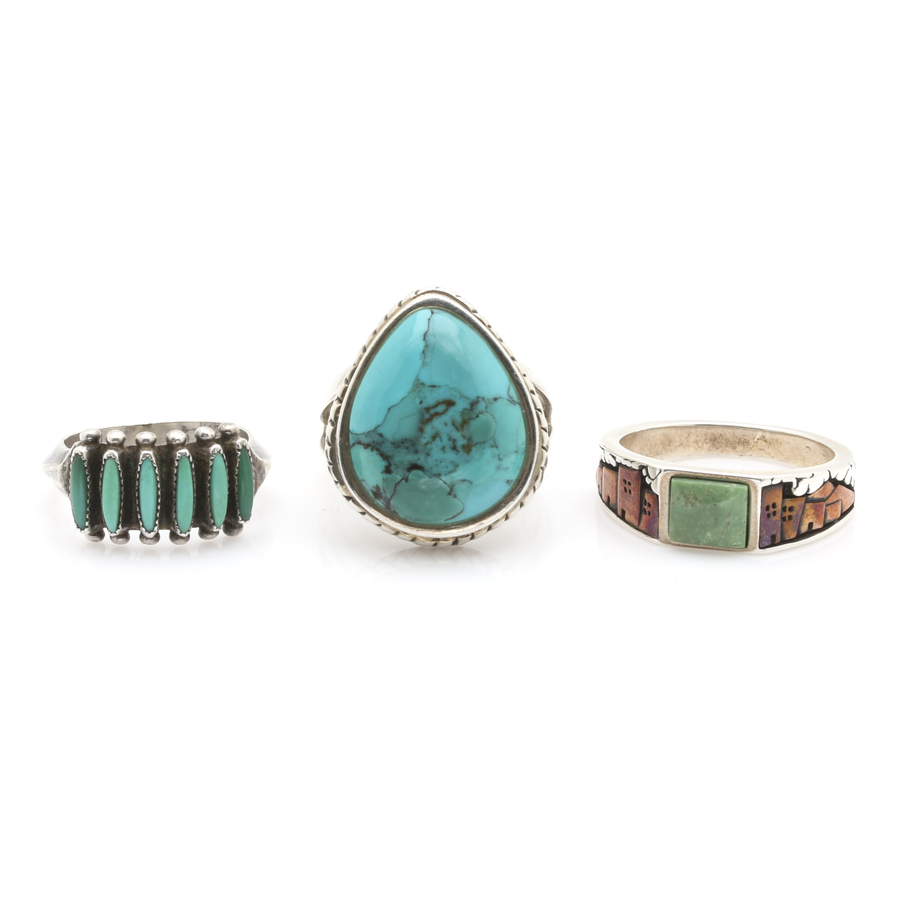 Assortment of Sterling Silver, Copper, and Turquoise Rings