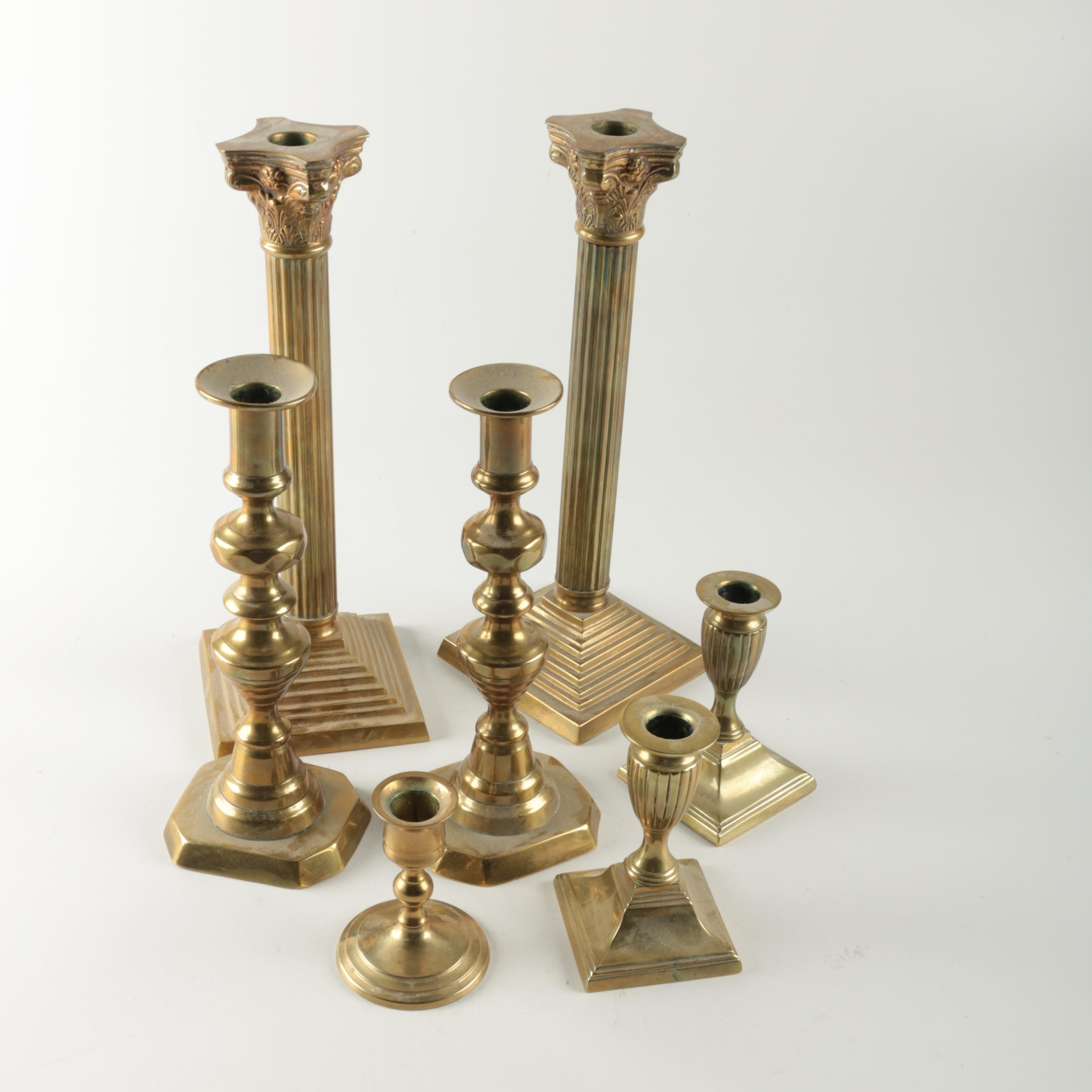 Brass Candlesticks including a Pair of Beehive Push-Up