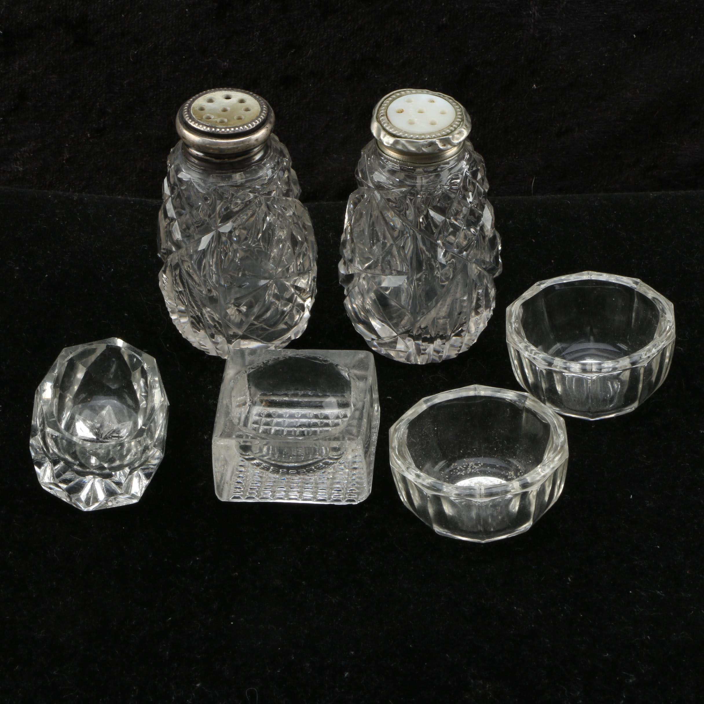 Glass Salt Cellars and Pair of Shakers with Sterling Lids