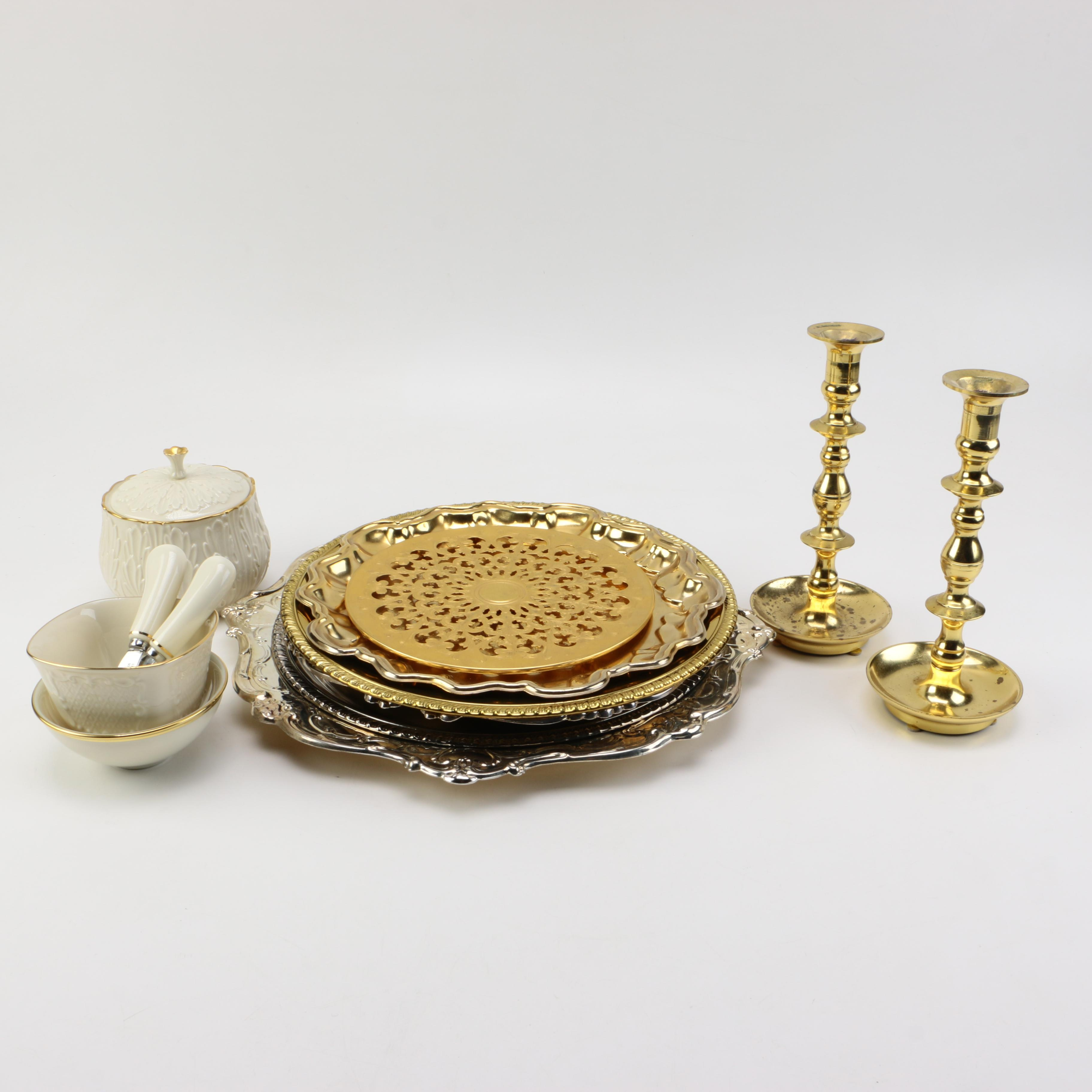 Lehman 24K Gold Plated Trivet, Lenox Porcelain, and Silver Plate Serving Trays