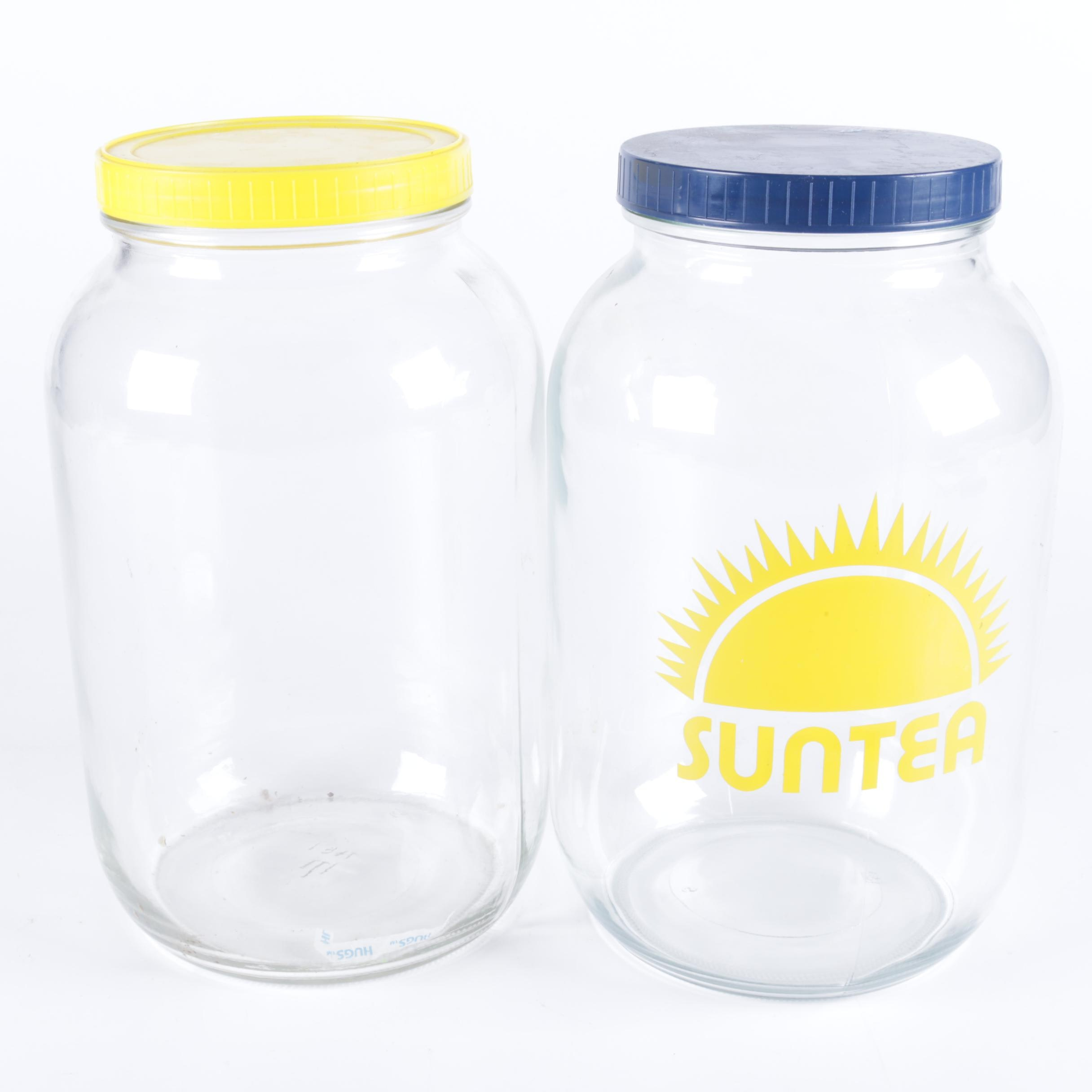 "Vintage Glass Jars Including ""SunTea"""