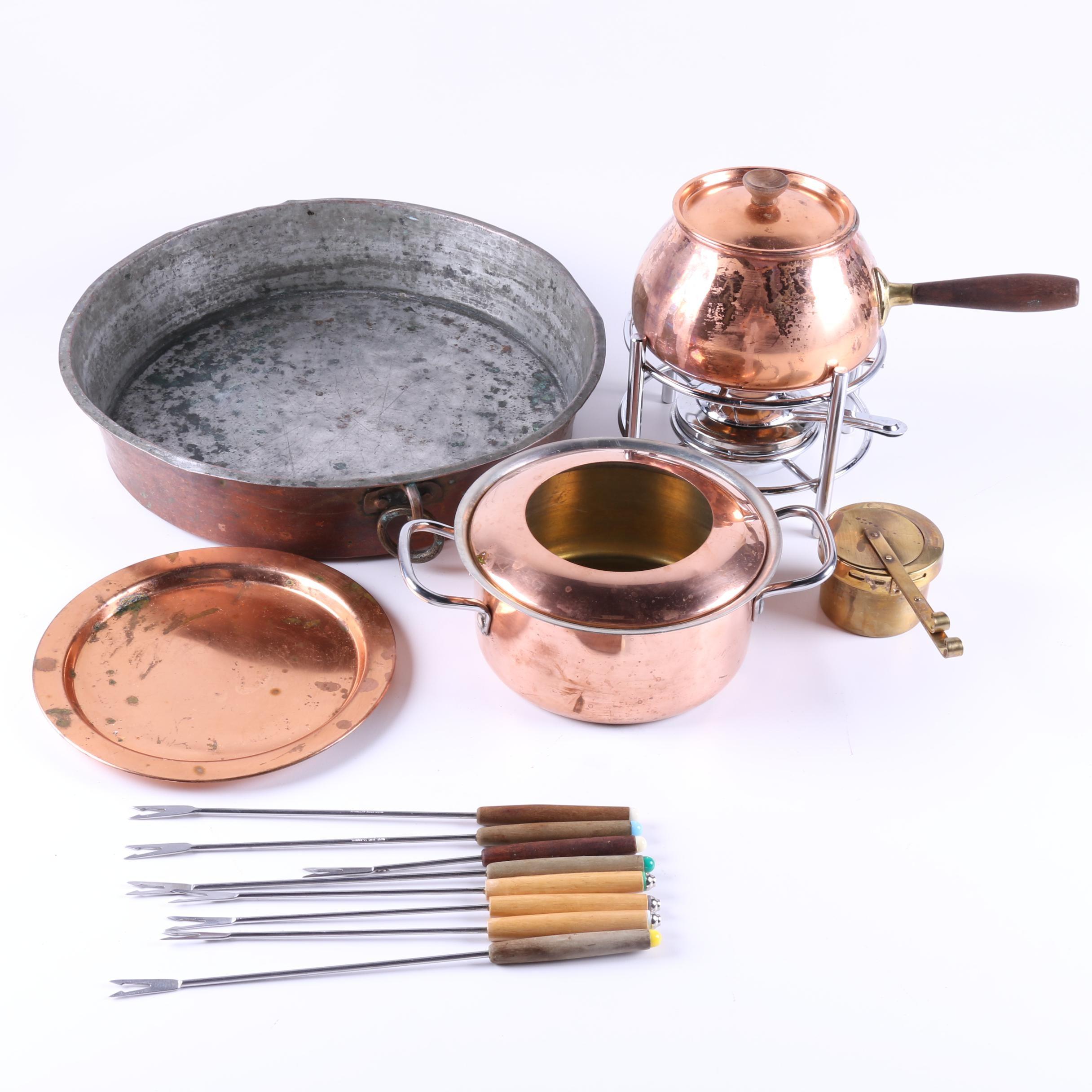 Copper Cookware and Fondue Set