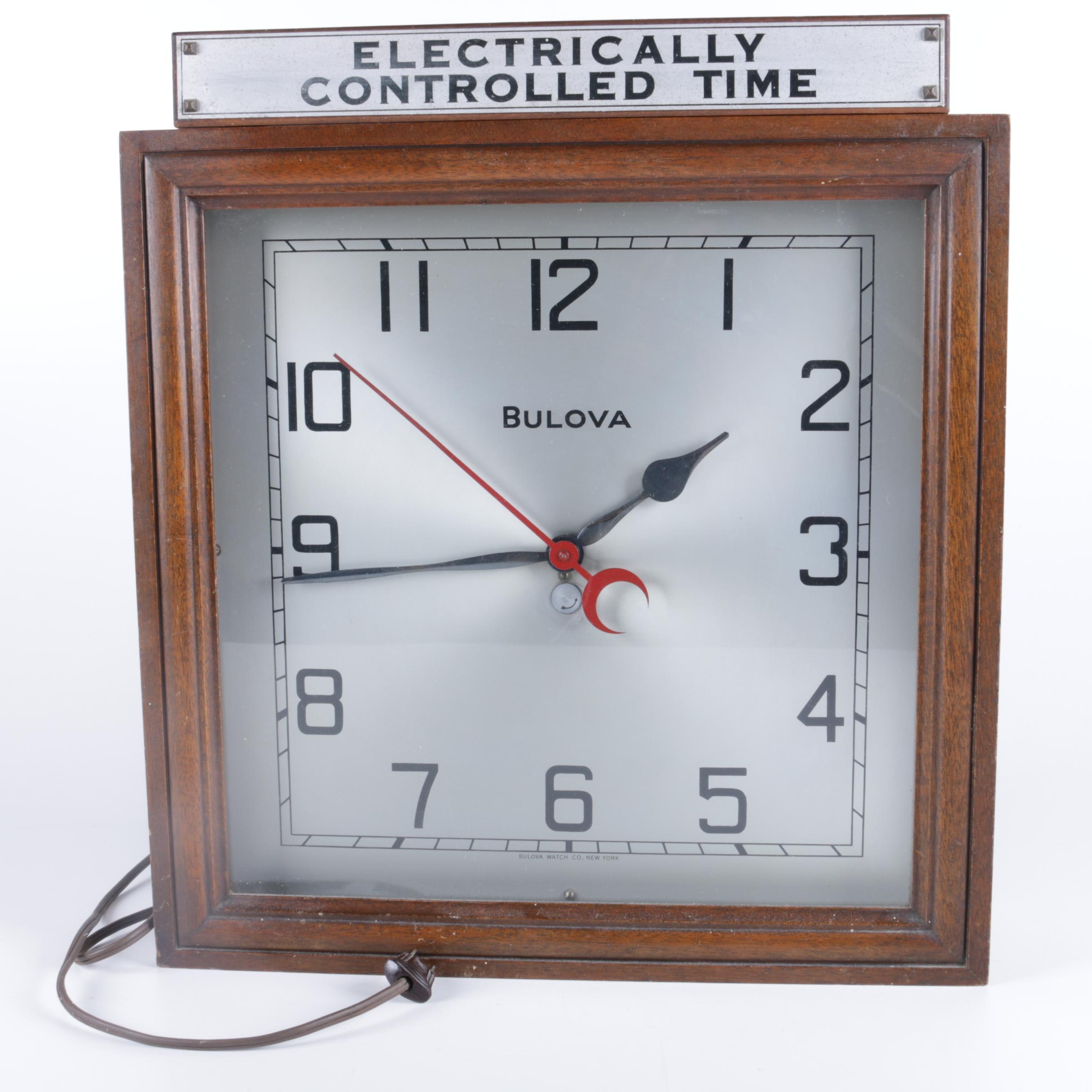 Bulova Electric Wood Framed Wall Clock