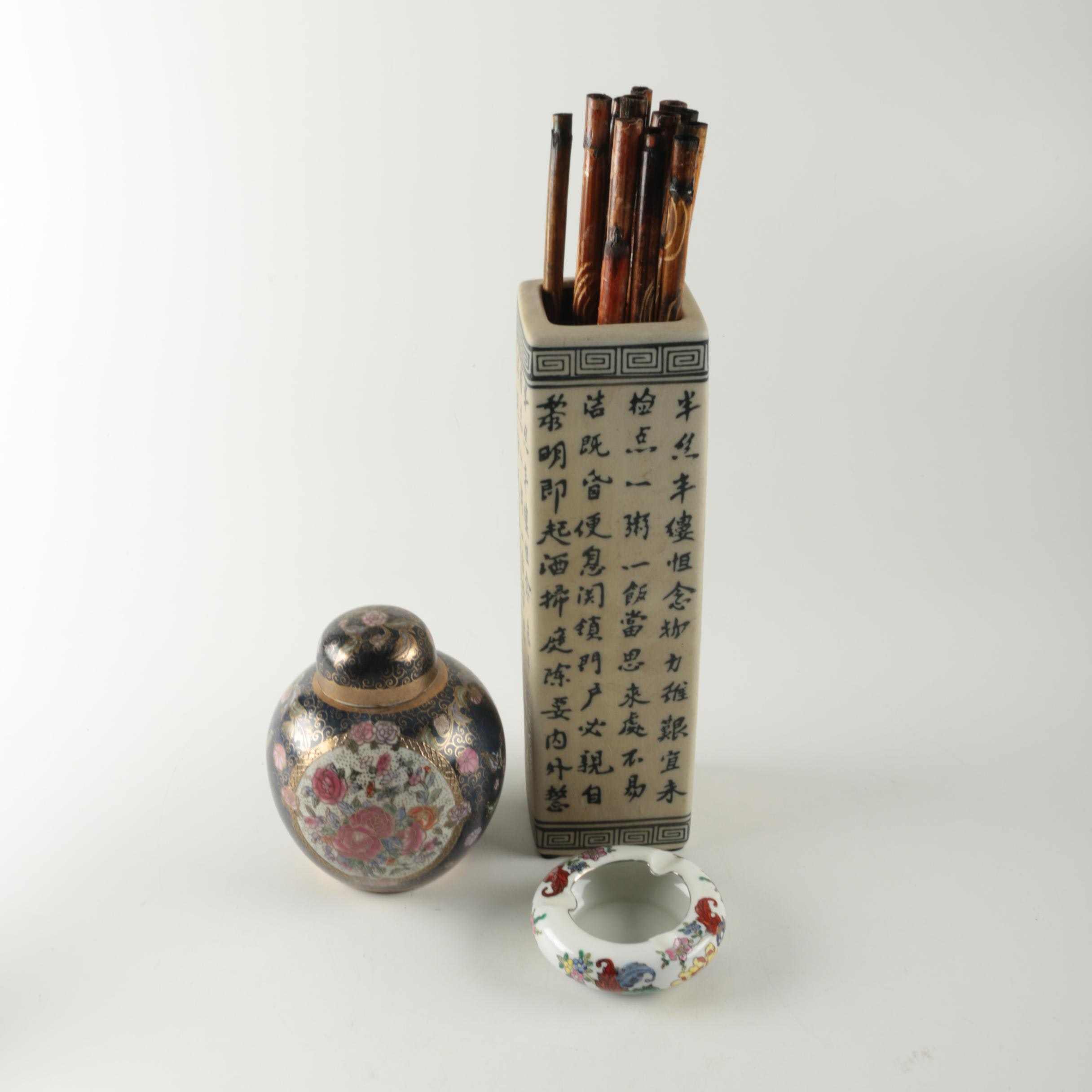 Chinese Porcelain and Ceramic Vessels with Decorative Bamboo