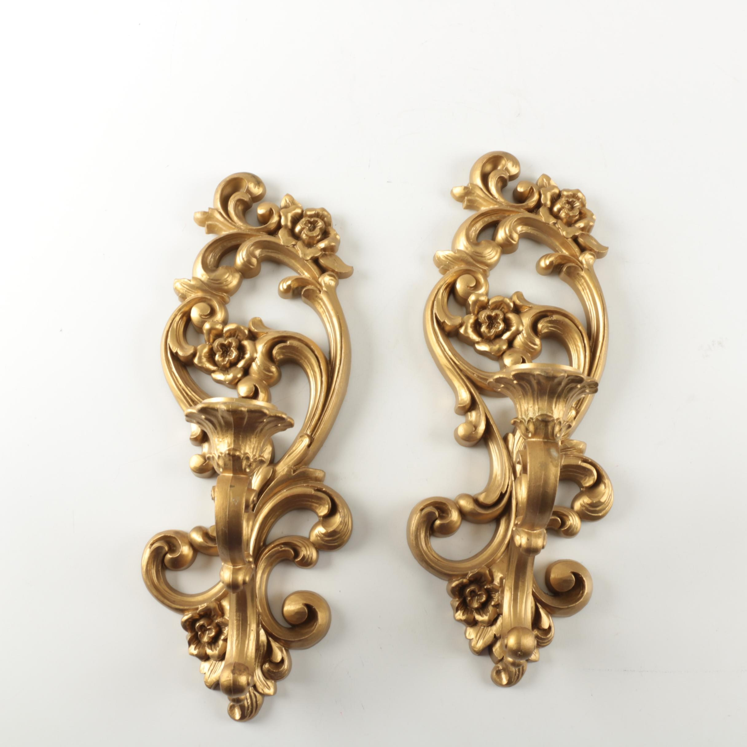 Ornate Homco Gold Tone Wall Sconces