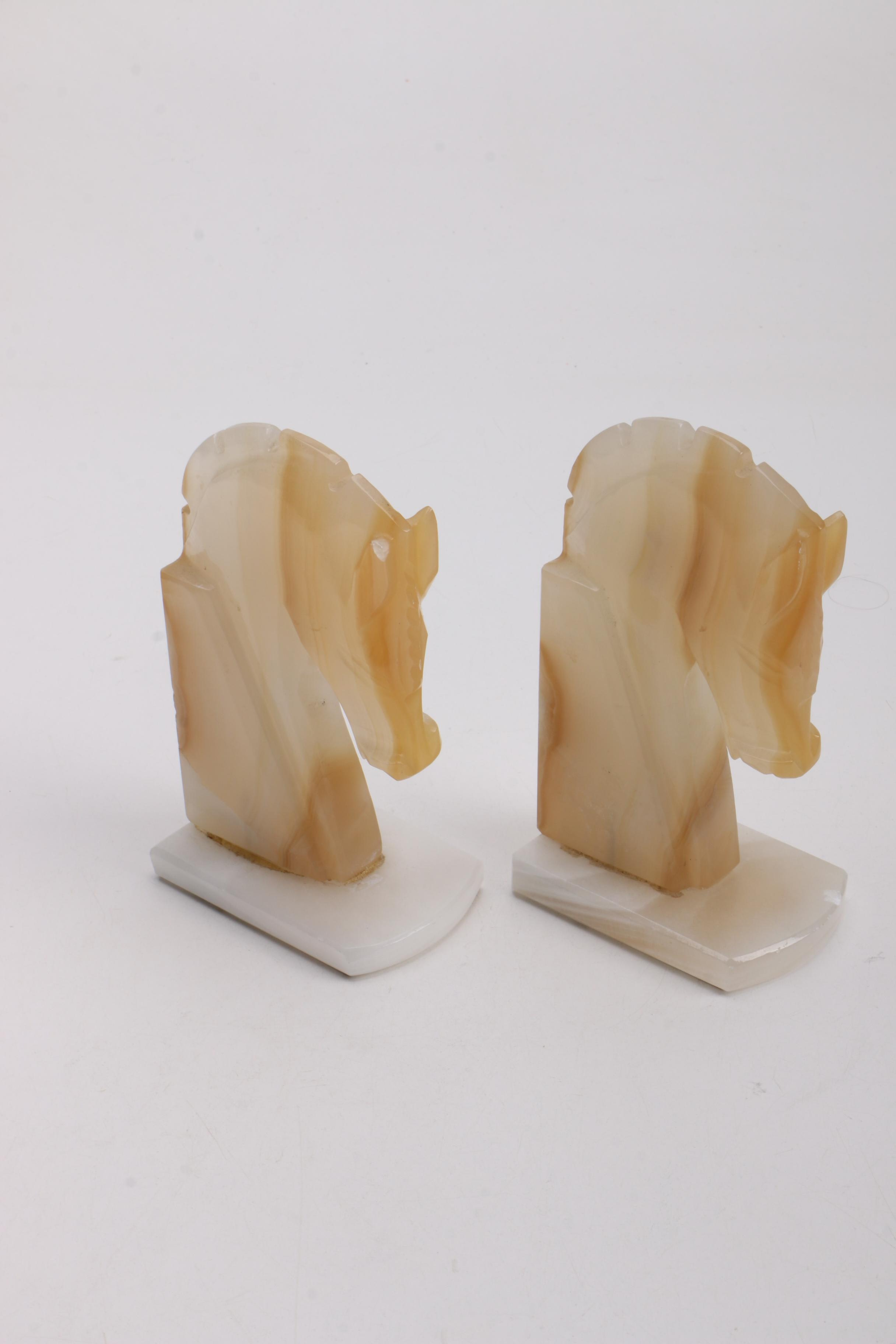 Pair of Agate Horse Head Bookends