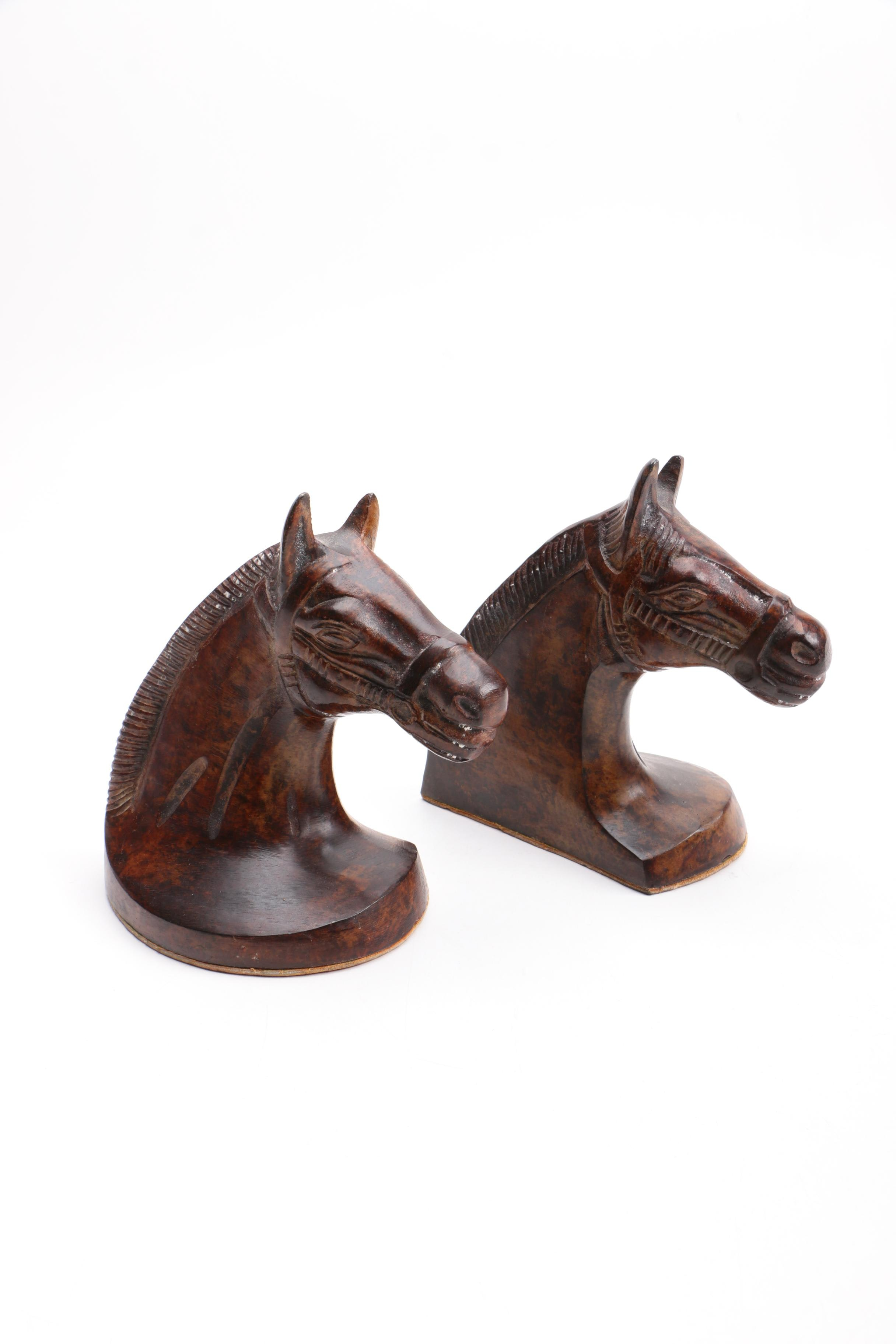 Two Metal Horsehead Bookends