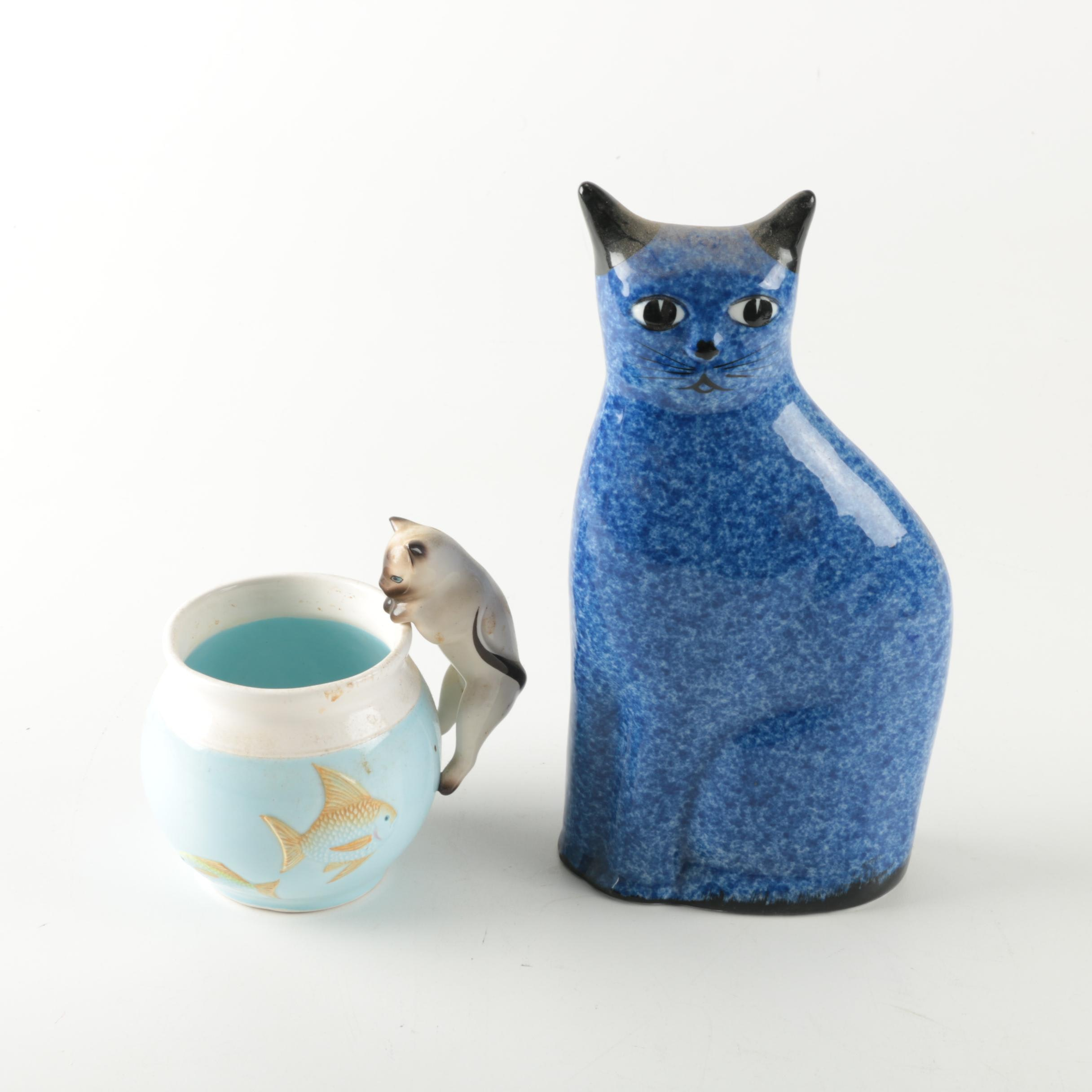 Cat Themed Pot and Figurine