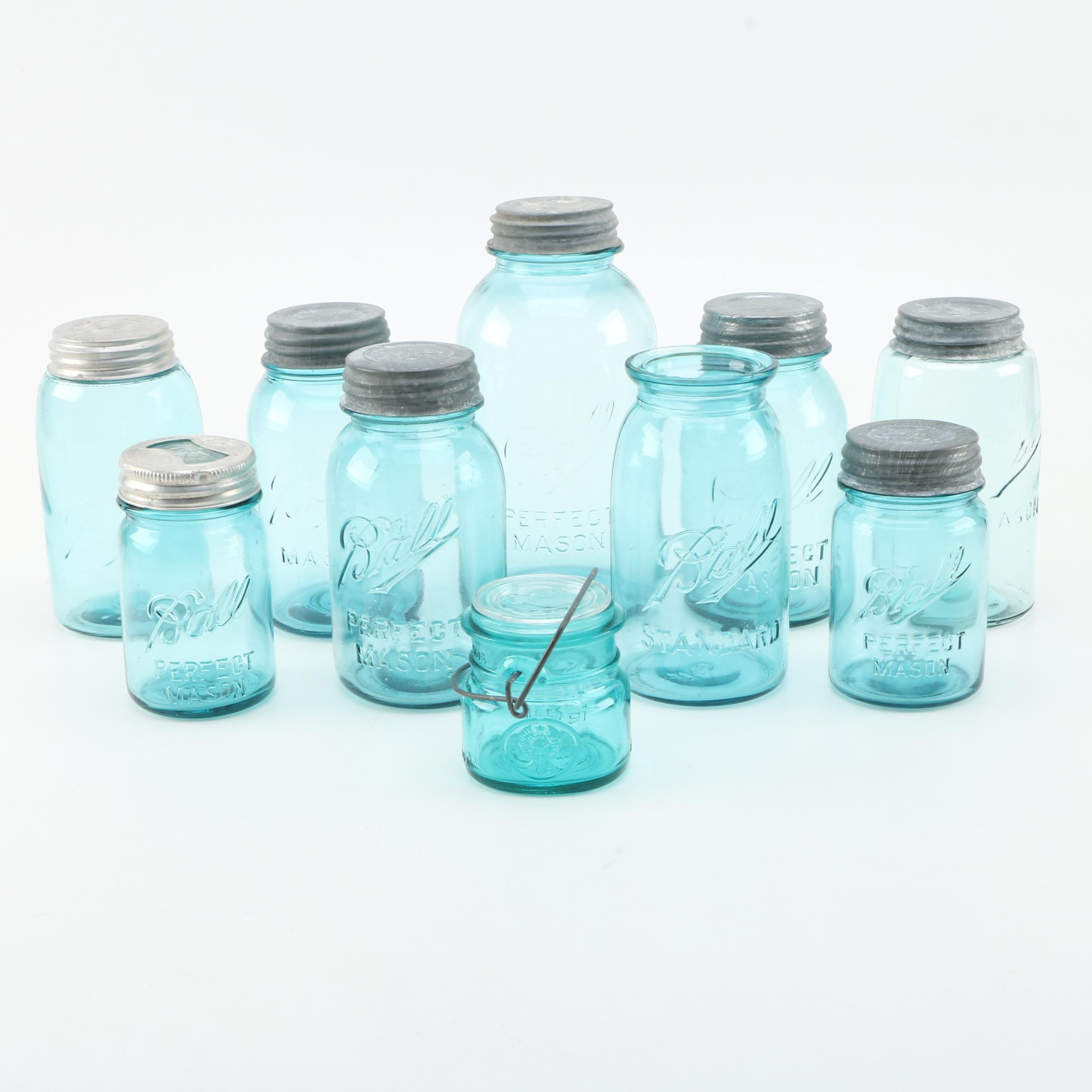 Vintage Glass Ball and Presto Mason Jars
