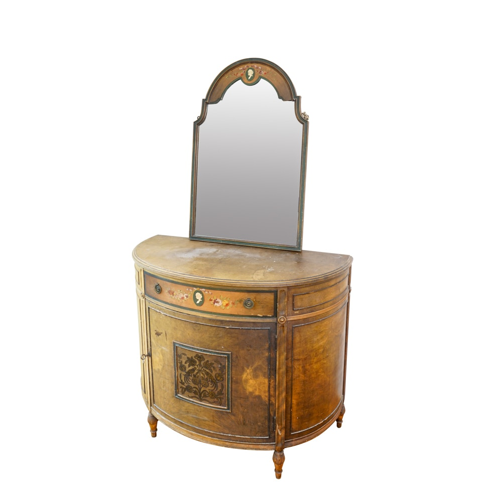 Vintage Demilune Chest with Wall Mirror by Paine Furniture