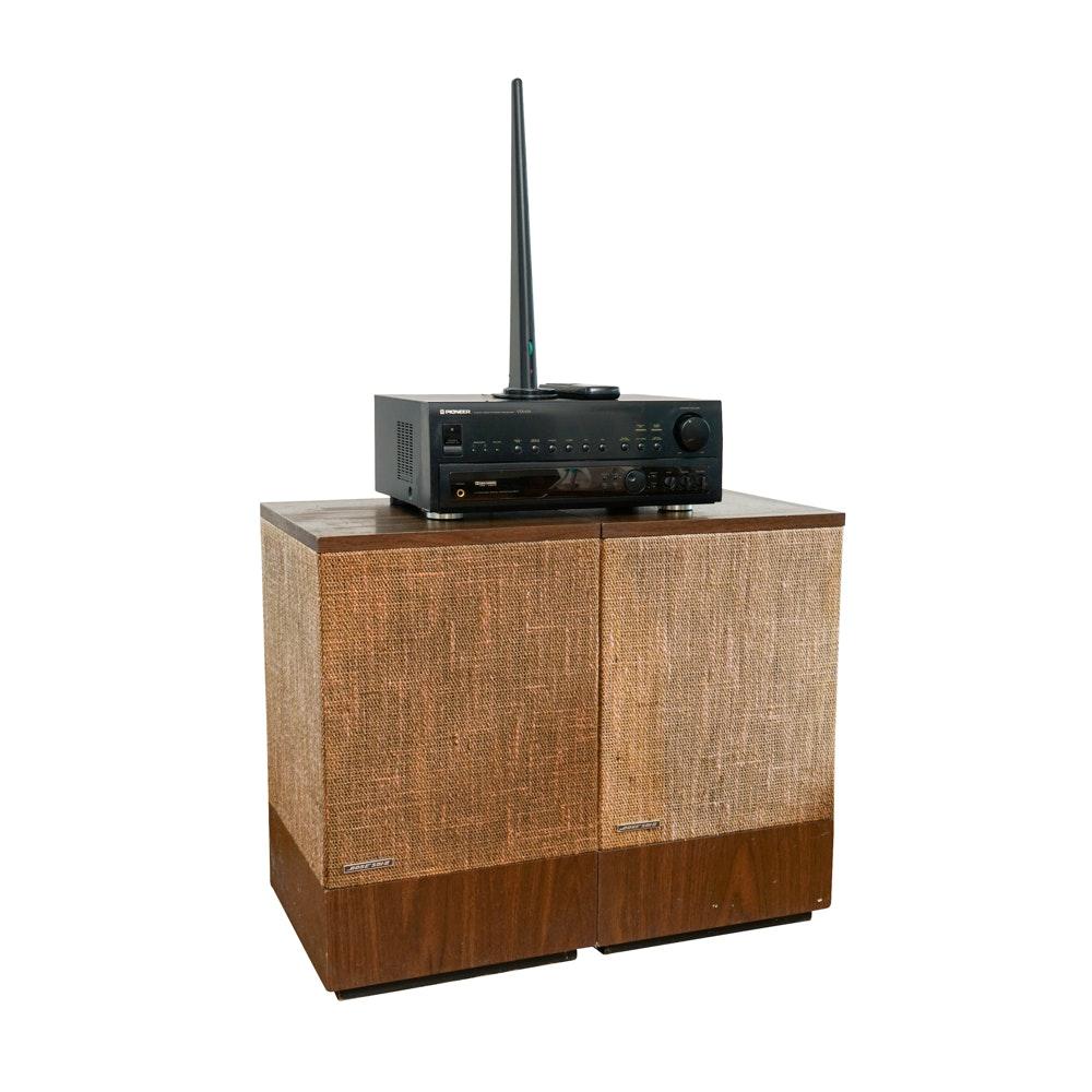 Vintage Bose Sol II Speakers, Pioneer Receiver with Remote and Terk Antenna