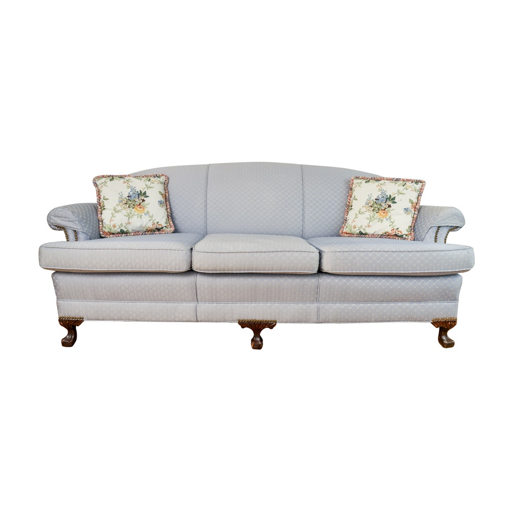 Vintage Chippendale Style Upholstered Sofa by Twin City