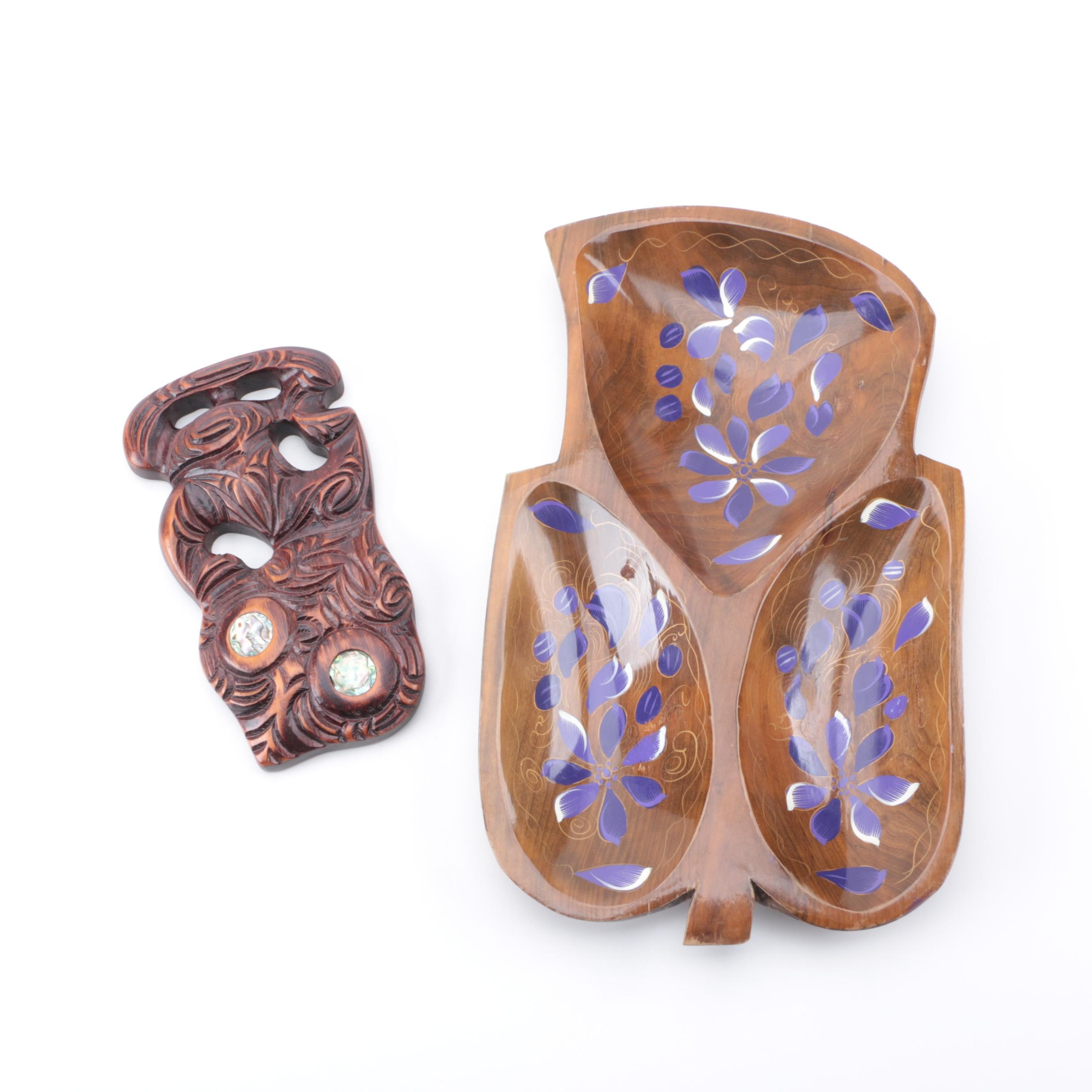 Carved Wood Tray and Decorative Abstract Plaque