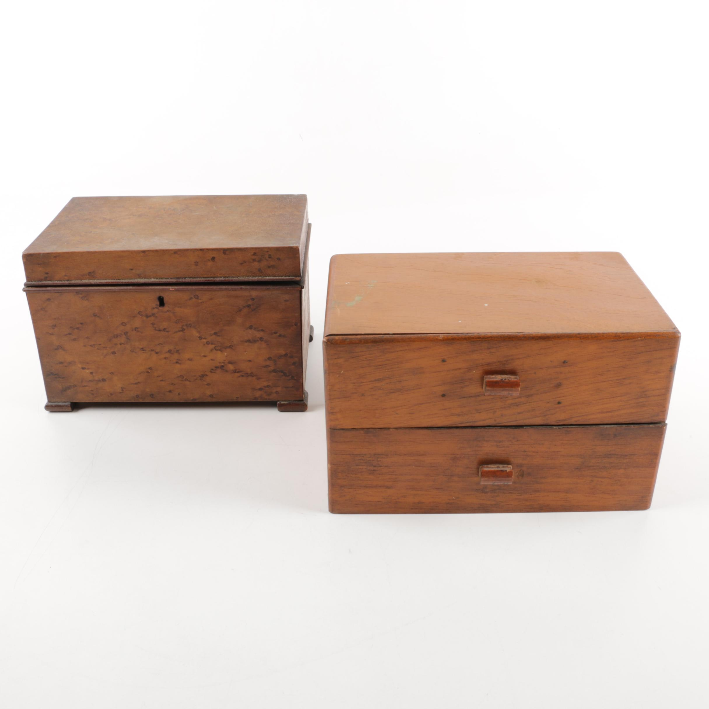 Pair of Vintage Hardwood Boxes