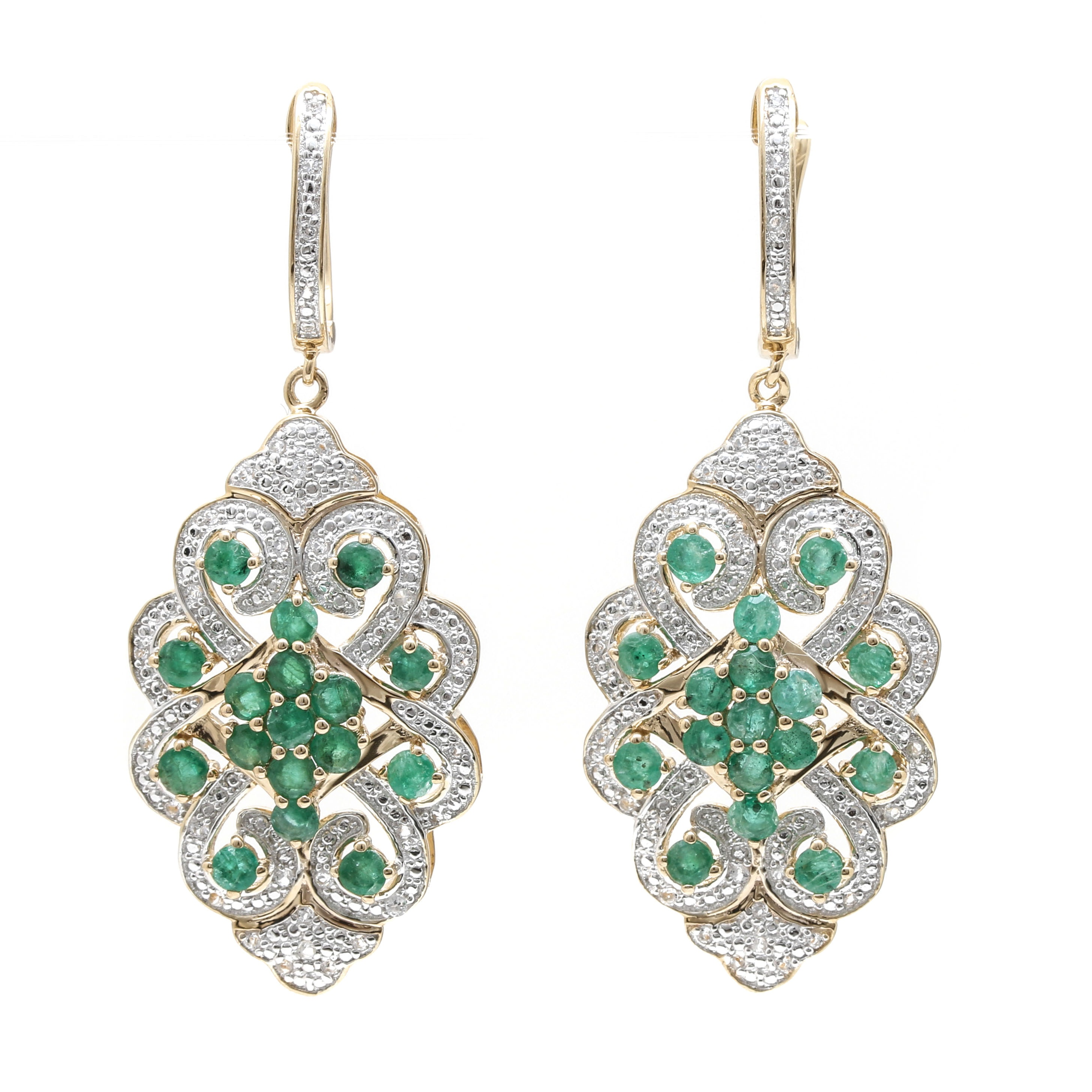Sterling Silver Emerald White Topaz Earrings