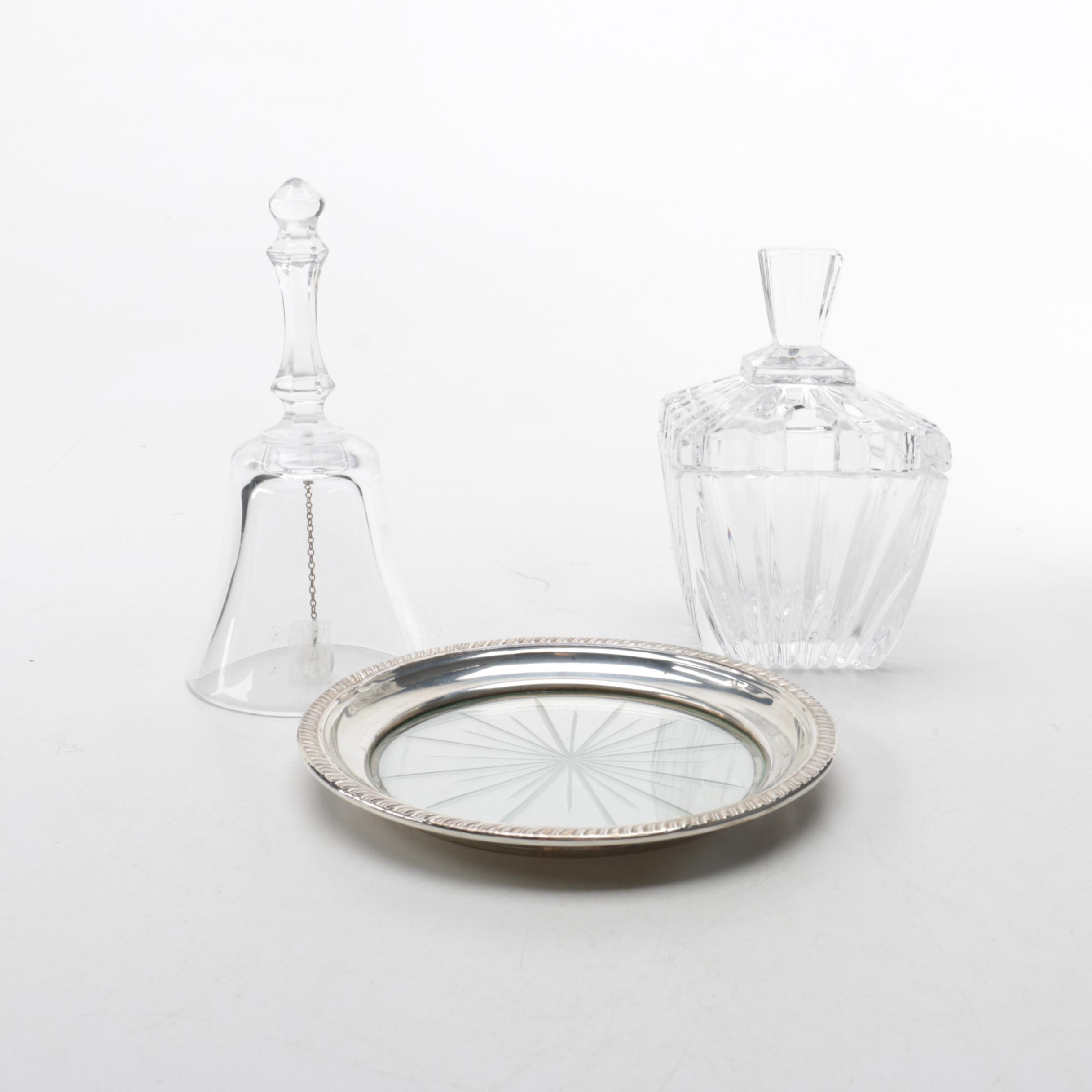 Sterling Silver Rimmed Coaster with Glass Jam Jar and Bell