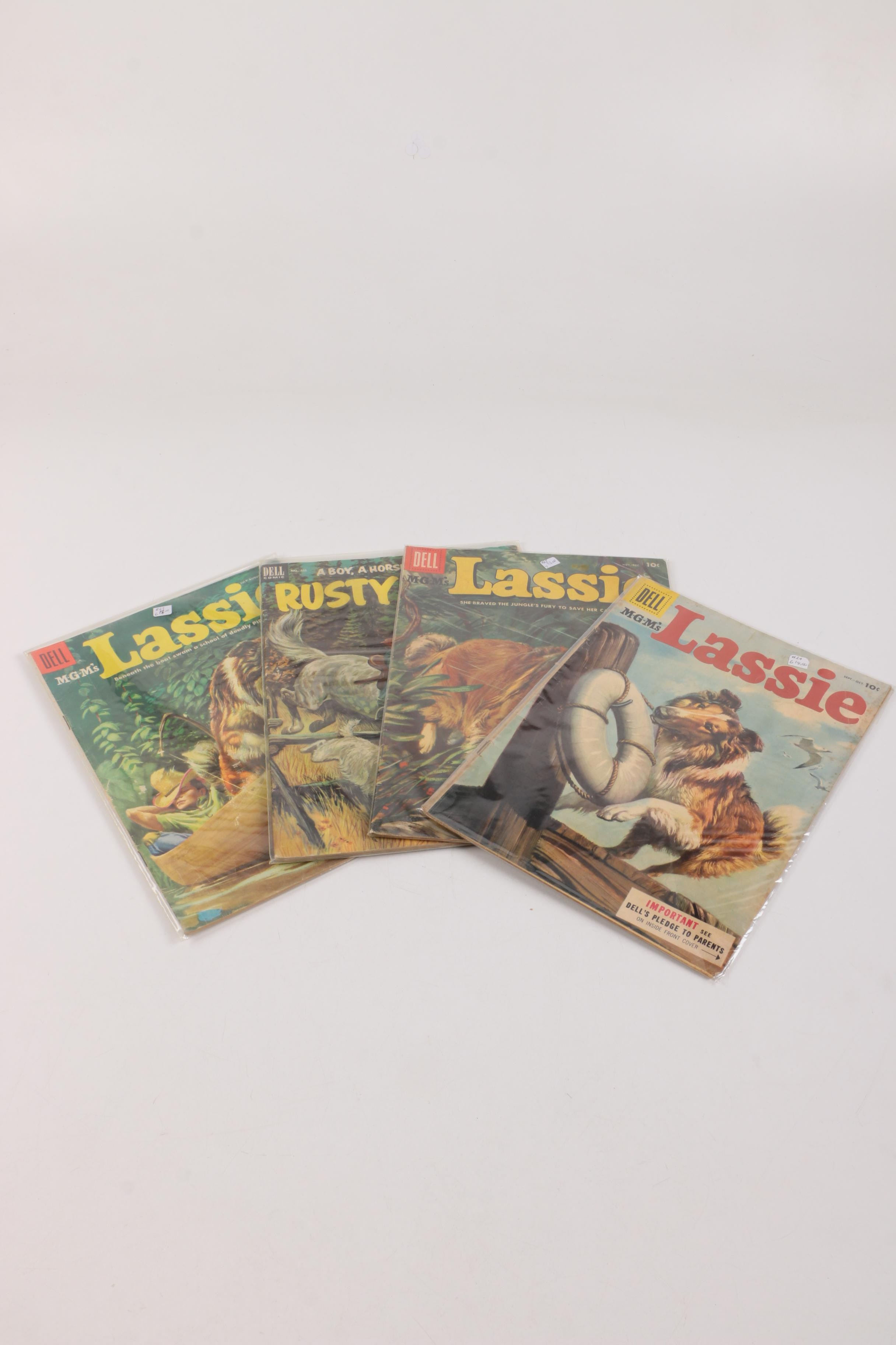 "1953 and 1955 ""Lassie"" and ""Rusty Riley"" Silver Age Comic Books"