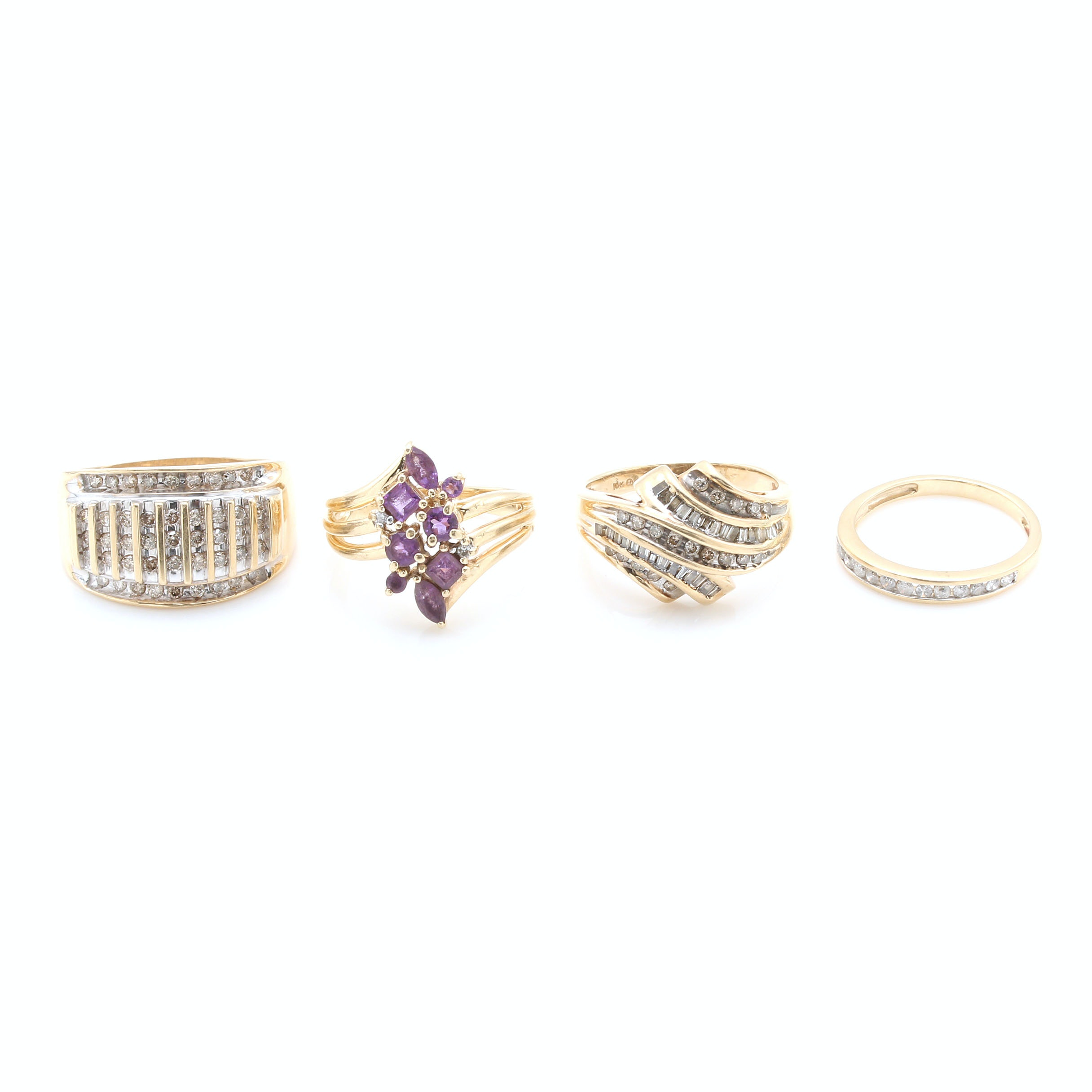 Assortment of 10K and 14K Yellow Gold Amethyst and Diamond Rings