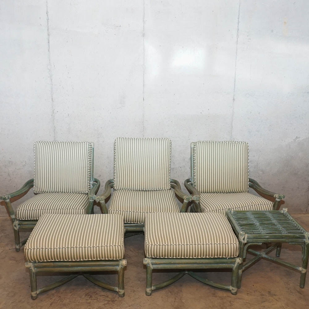 Green Rattan Chairs with Ottomans and Side Table by McGuire