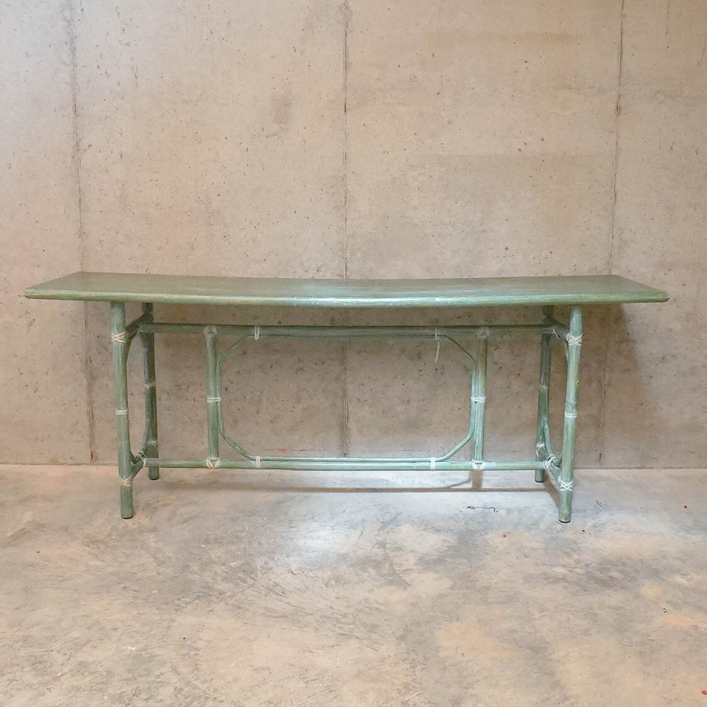 rattan console table. Green Rattan Console Table By McGuire