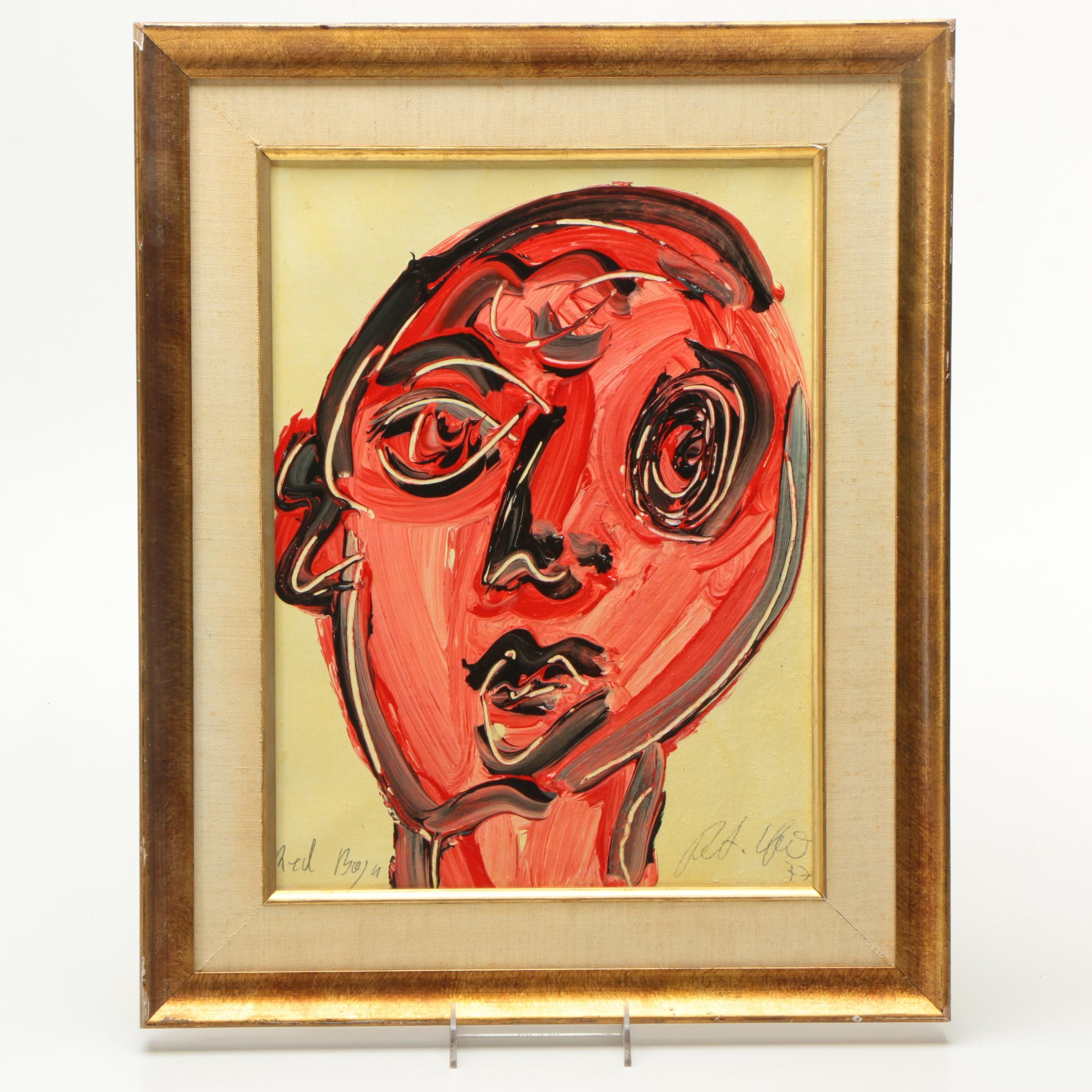 "Peter Keil 1977 Acrylic Painting on Canvas of Abstract Portrait ""Red Boy"""