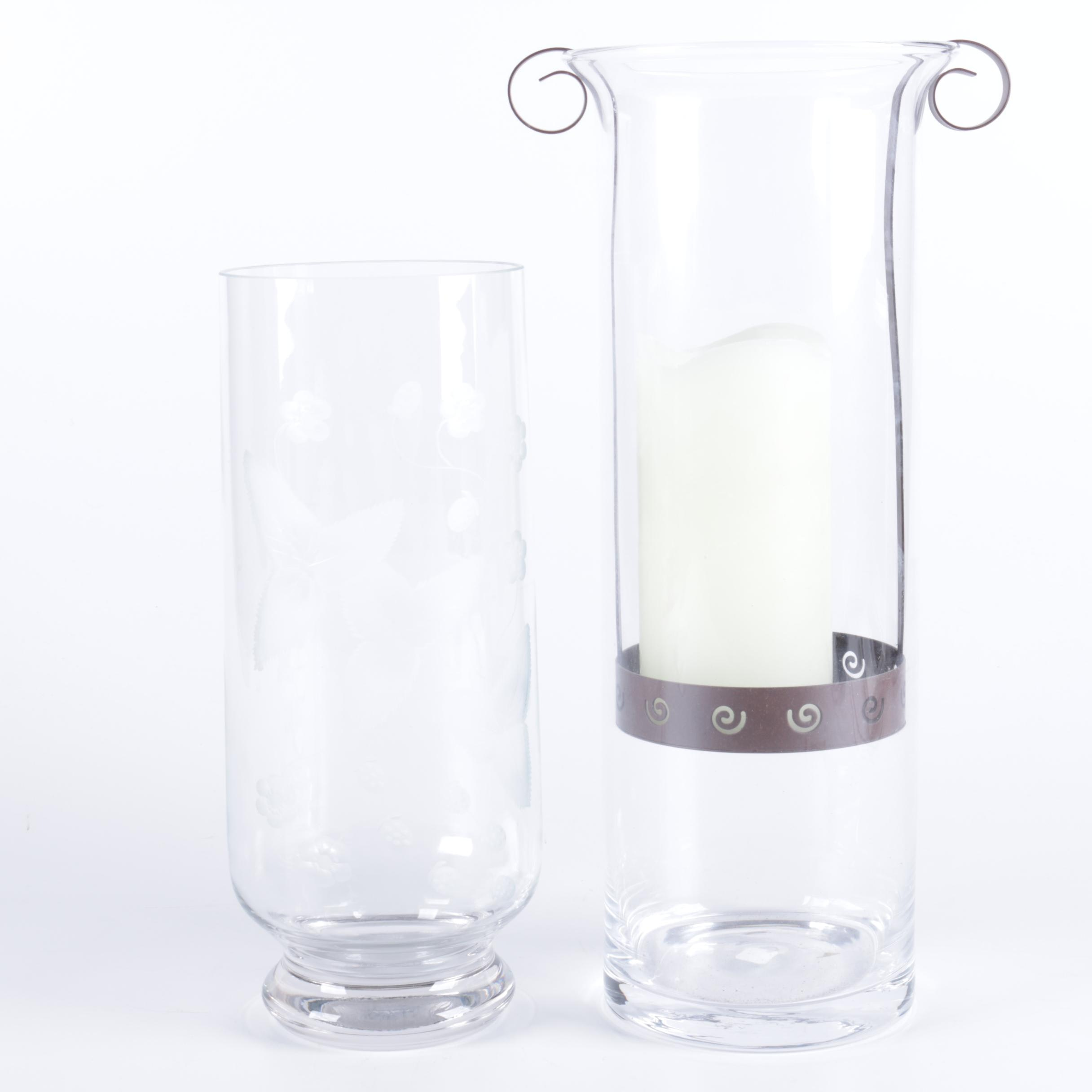 Glass Hurricane Shades with Metal Candleholder