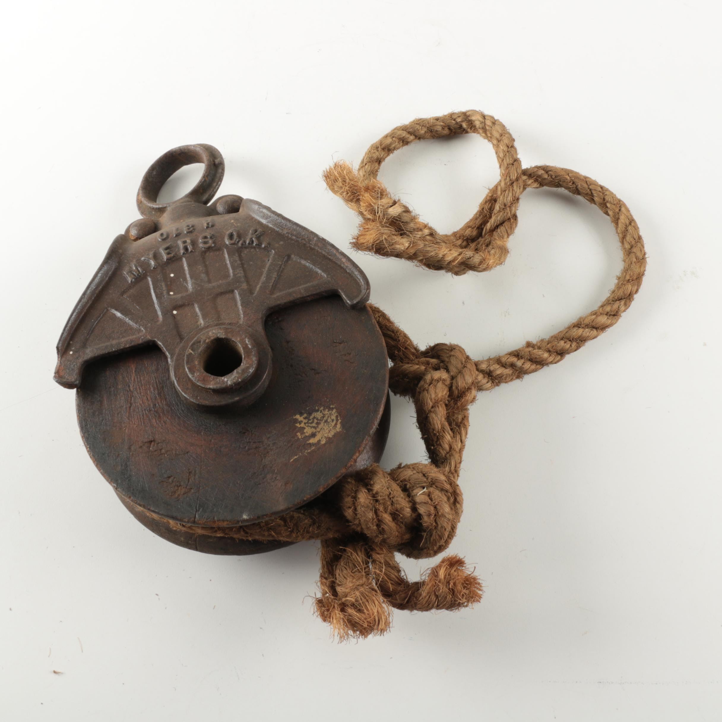 Vintage Myers Cast Iron Barn Pulley