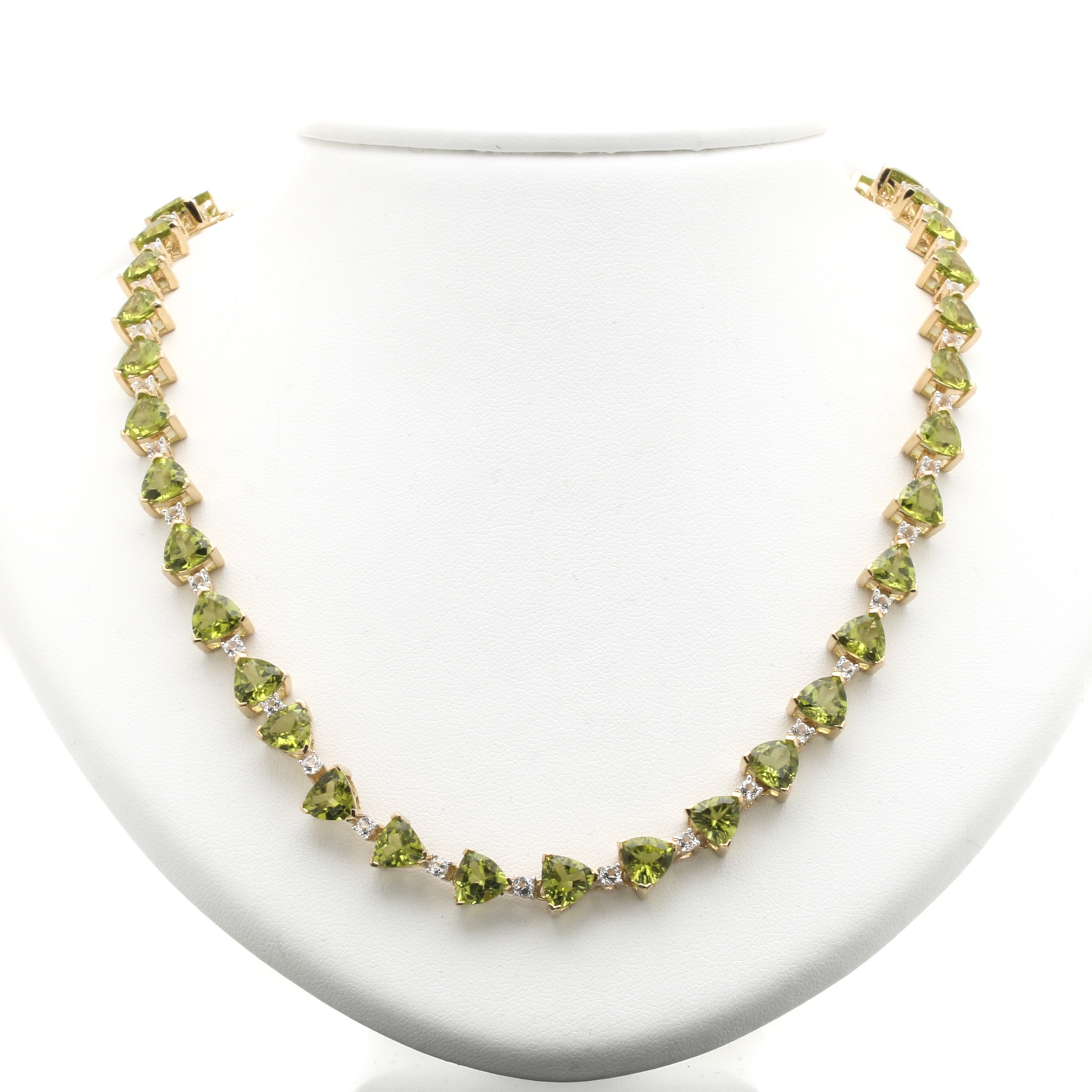 Sterling Silver Gold Wash Peridot and White Topaz Necklace
