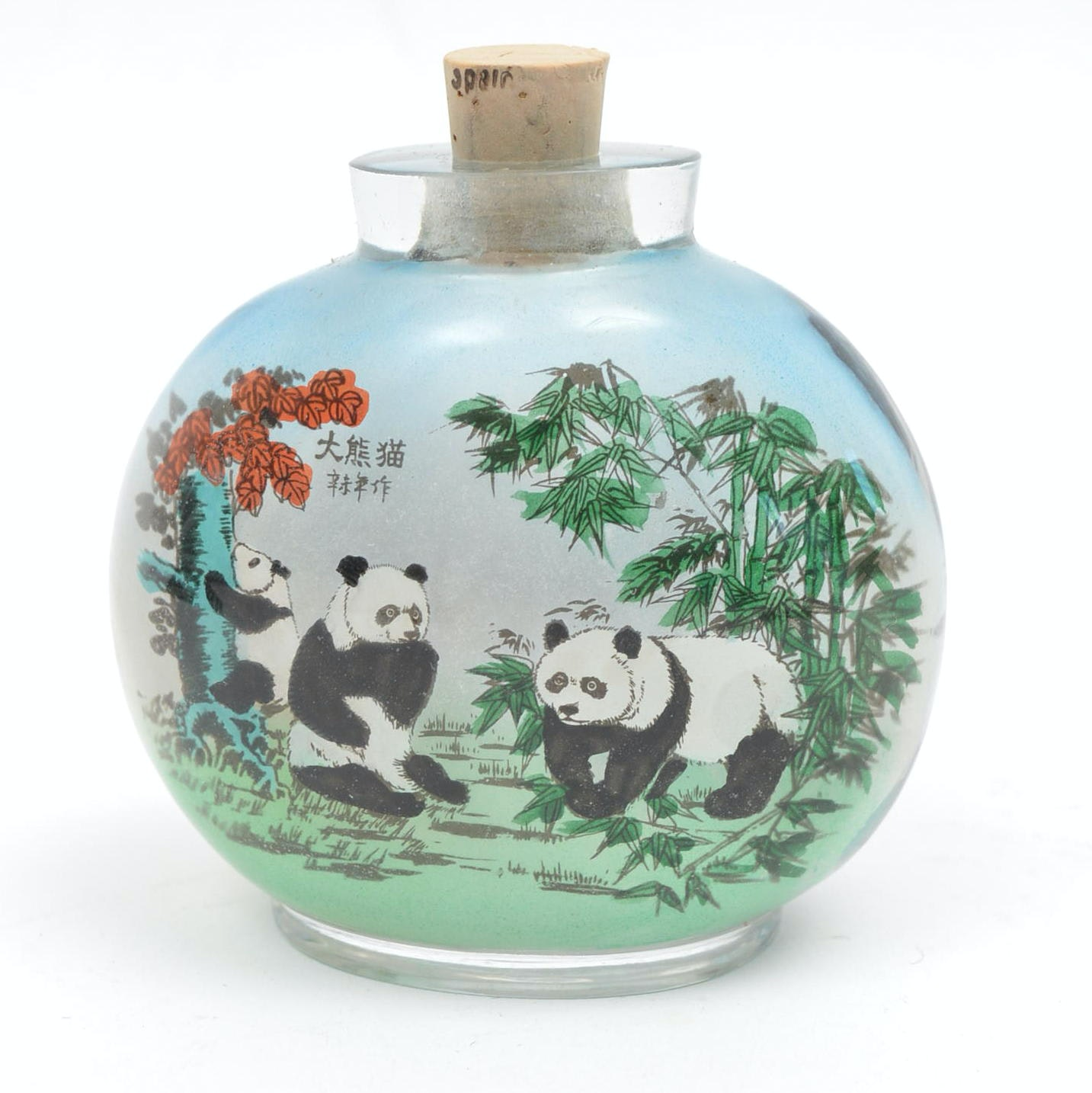 Hand-Colored Chinese Glass Snuff Bottle