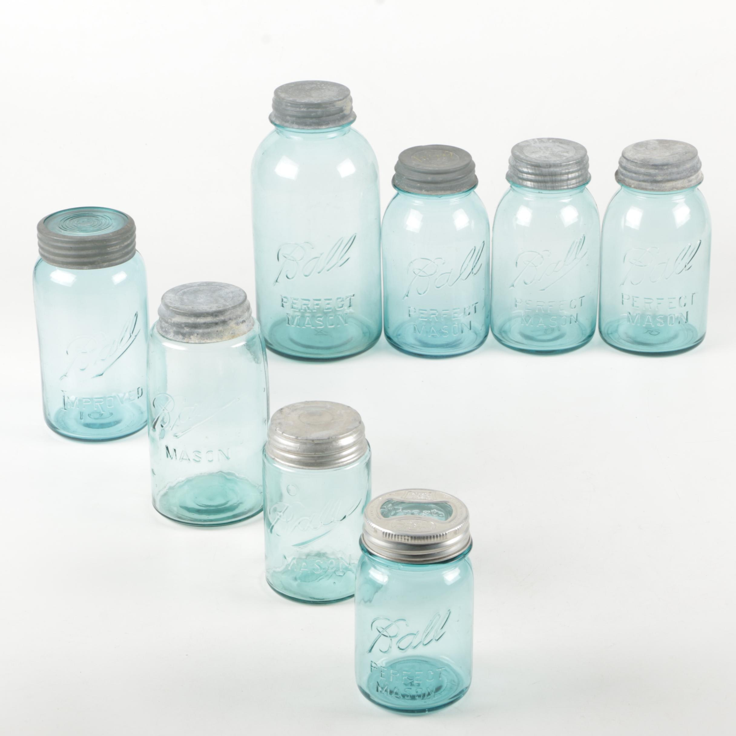 Vintage Blue Glass Ball Mason Jars