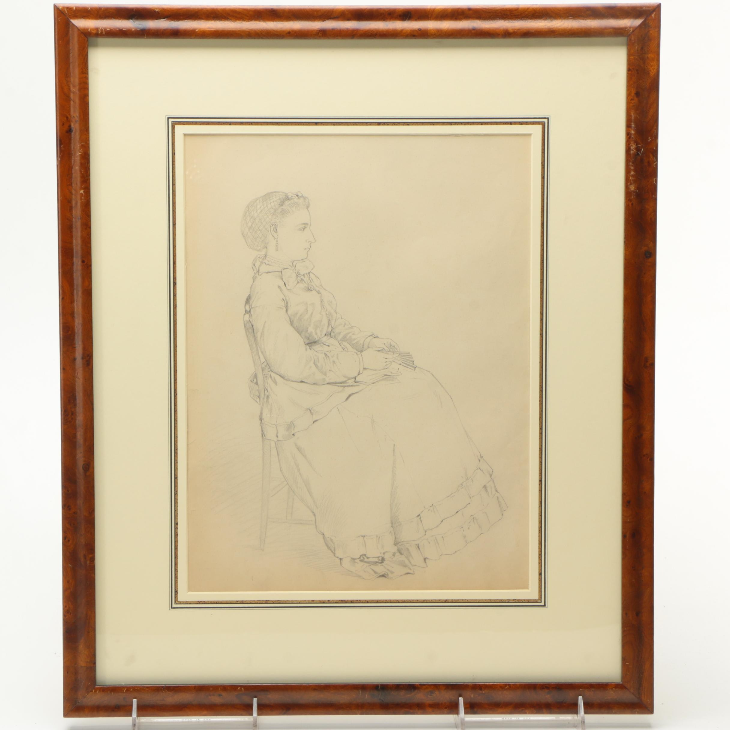 """Attributed to Edmund Bensell Graphite Drawing on Paper """"Seated Woman With Fan"""""""